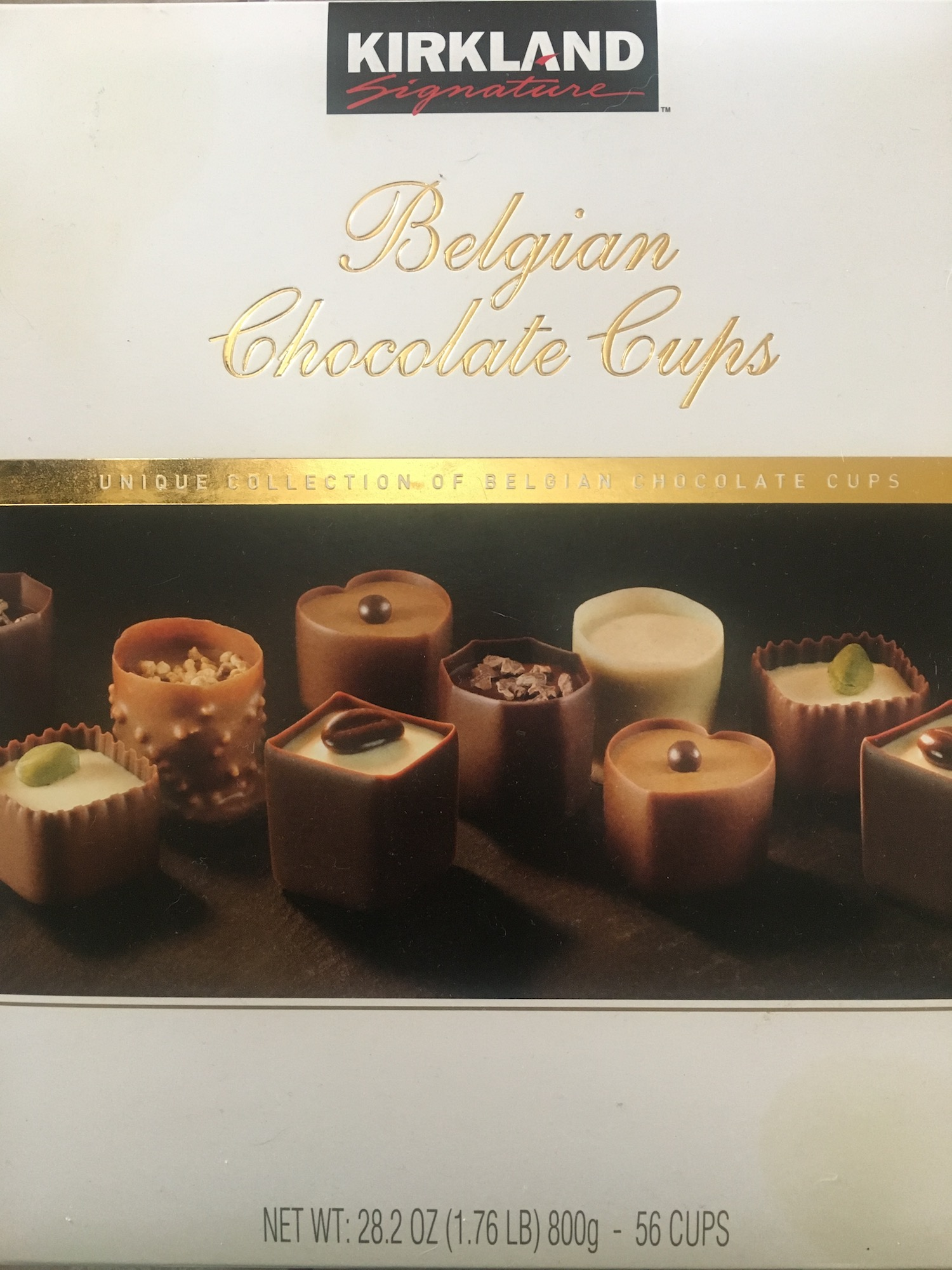 Packaging copy for Kirkland Belgian Chocolate Cups