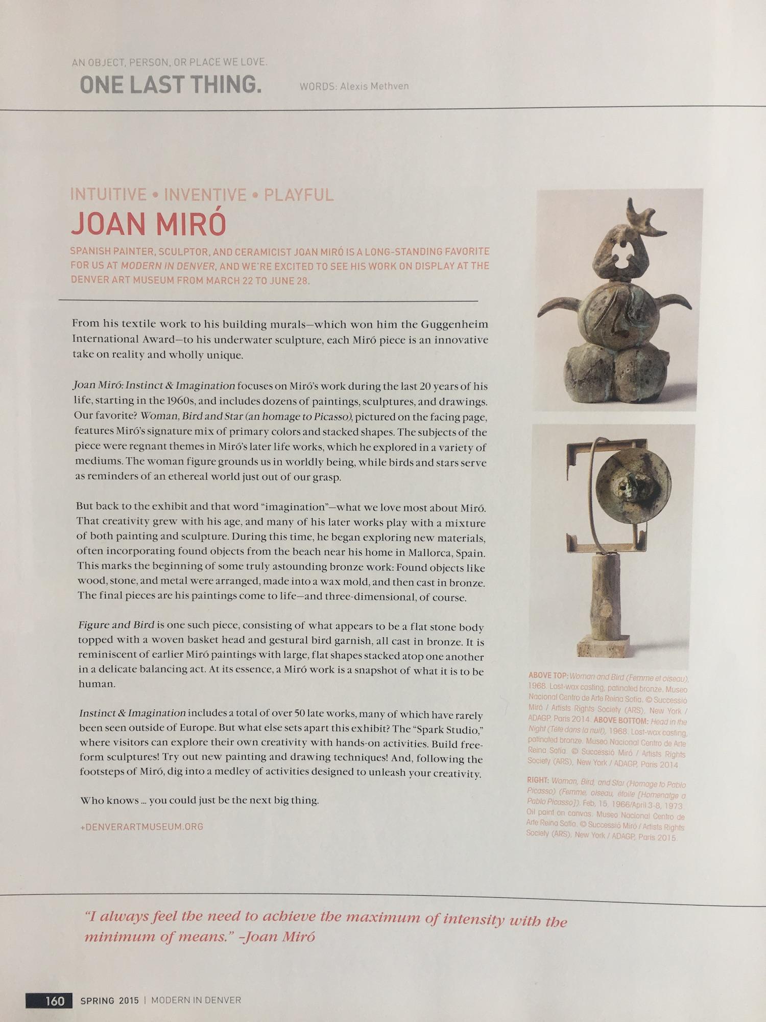 Print article for Modern in Denver magazine