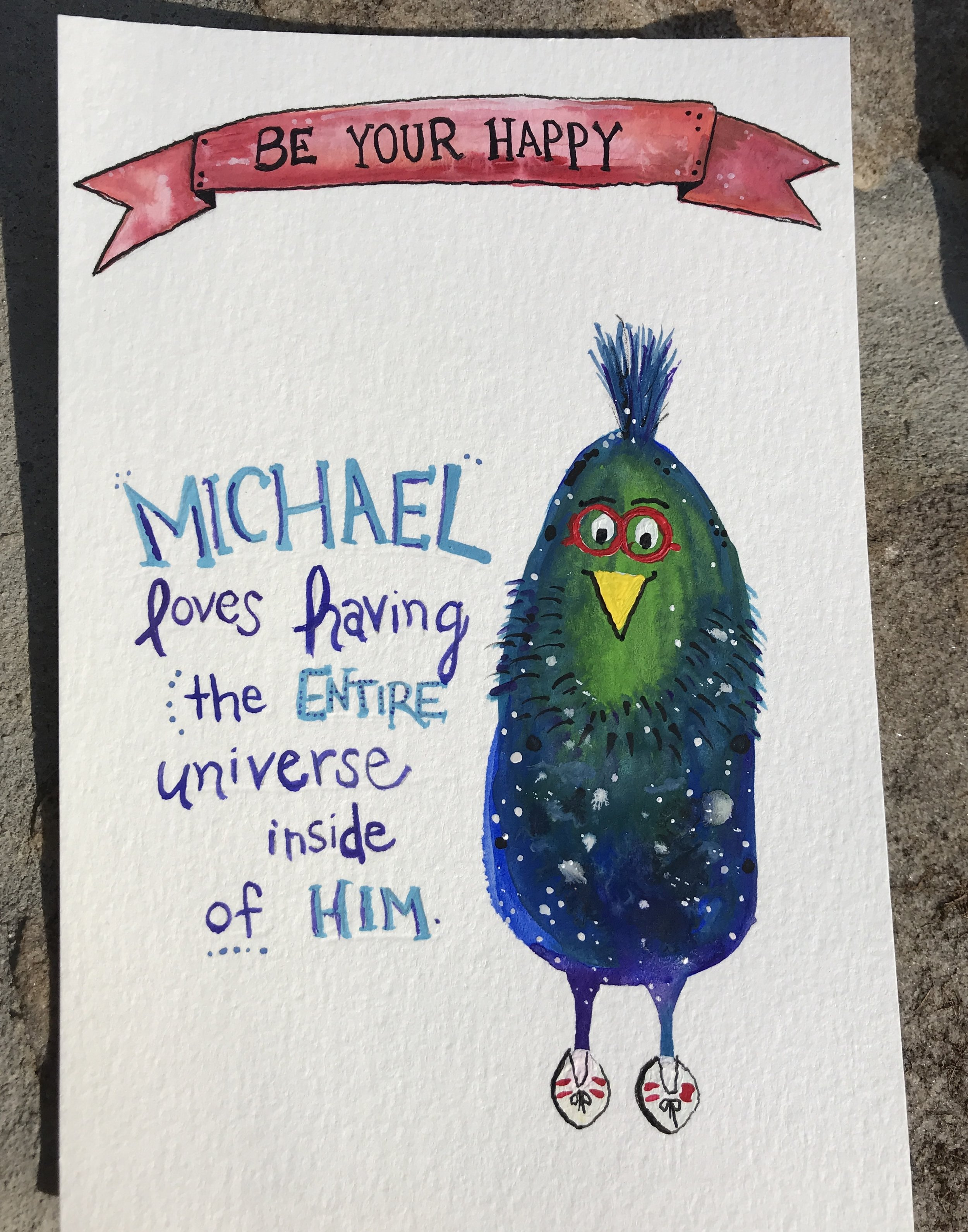 """Michael is the Universe, 2017. 4"""" x 6"""" gouache, acrylic and ink."""