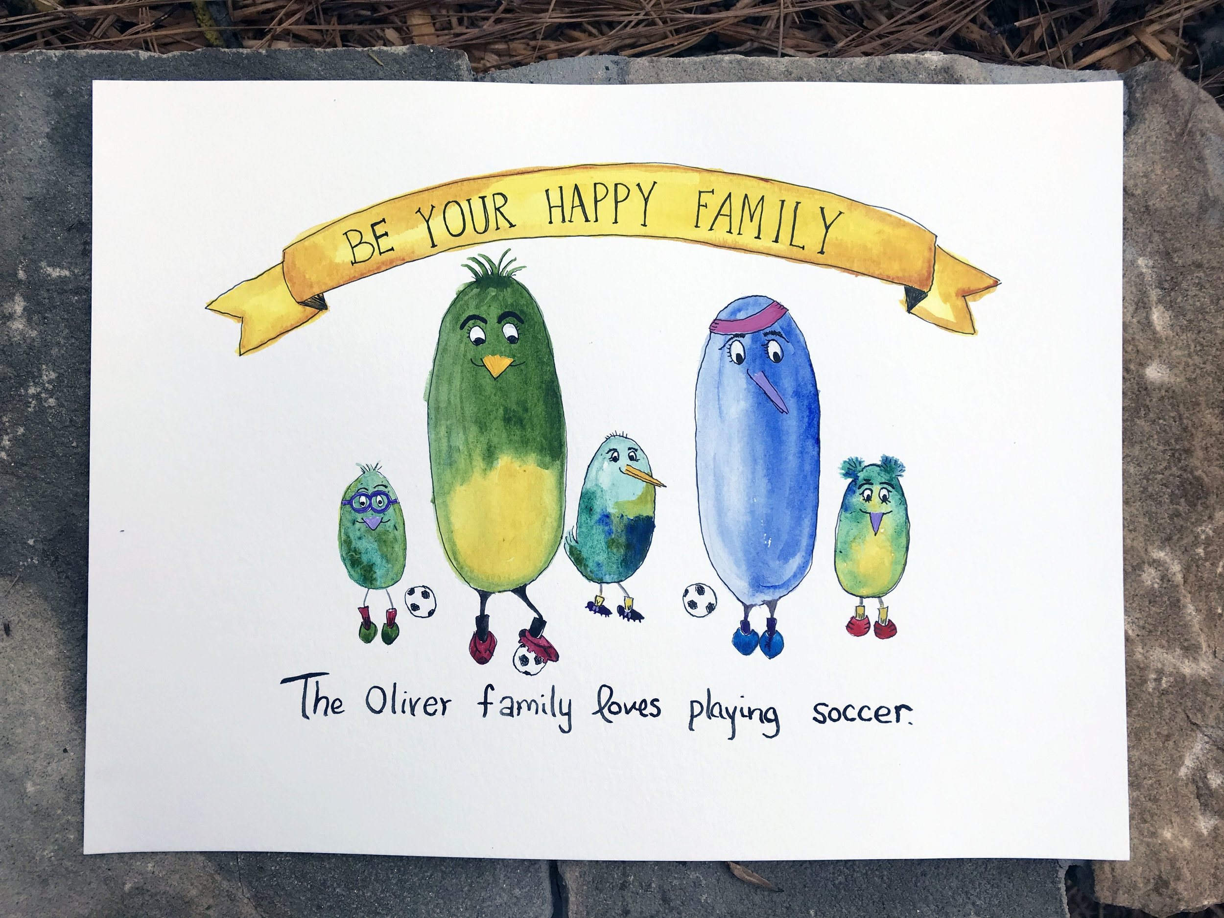"""The Oliver family loves playing soccer. 10"""" x 8"""" watercolor, gouache, acrylic and ink. 2017."""
