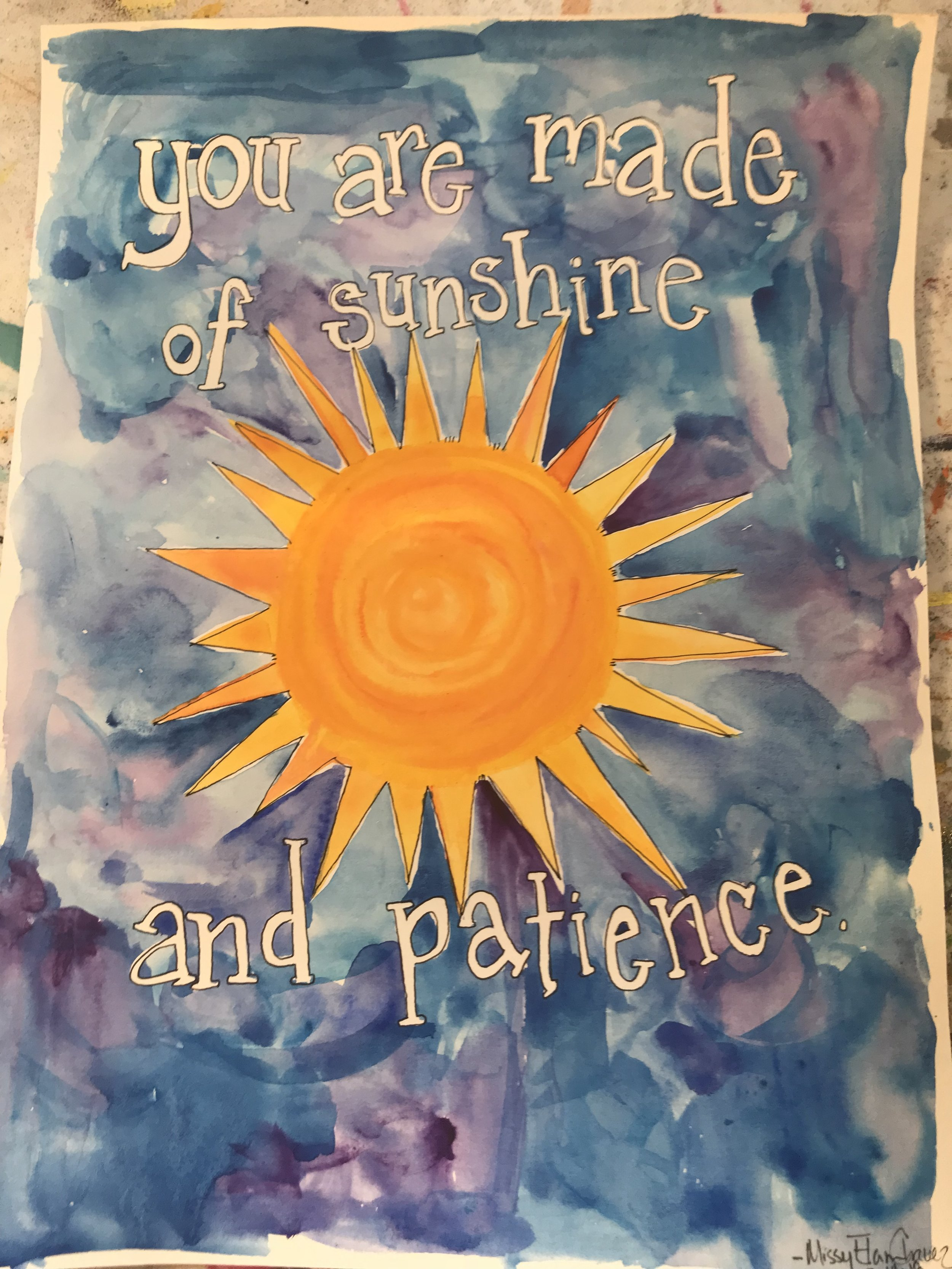 """sunshine and patience, 2018. Watercolor, gouache and ink on watercolor paper. 8x10"""""""
