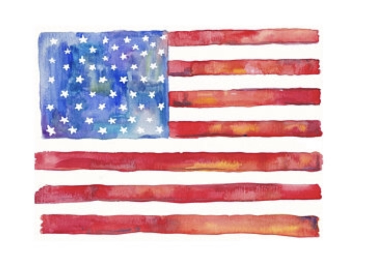 "American Flag, 8""x10"" watercolor. 2018, All rights reserved, Missy Elam Chavez."