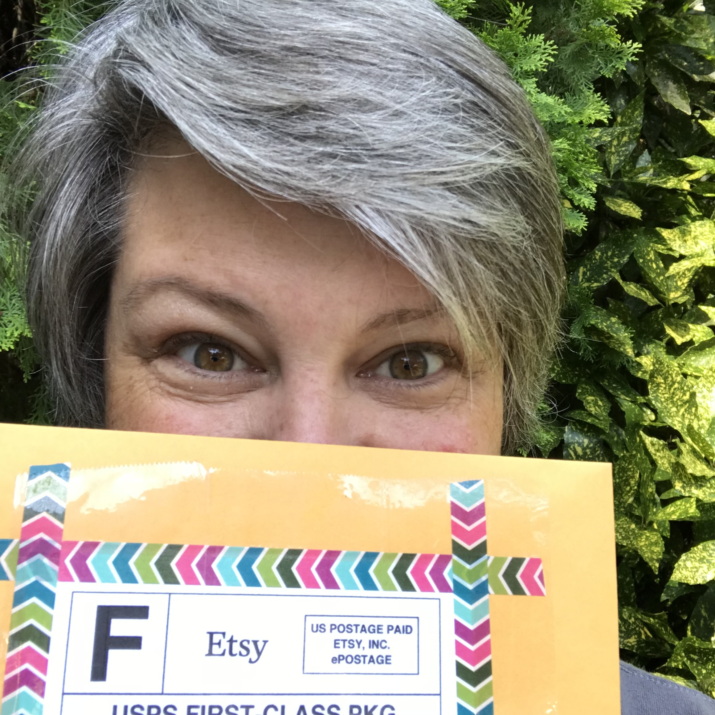 Messy hair and baggy eyes, don't care! I was happy to take this sweet package to the post office today!