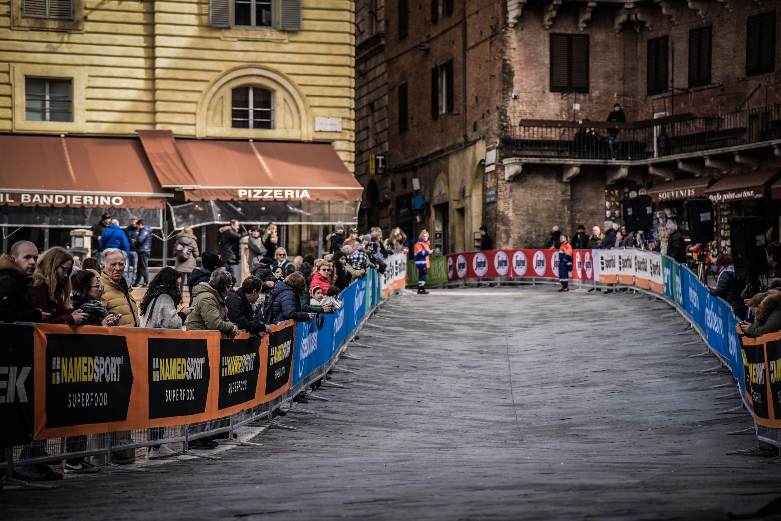 The finish line in Piazza del Campo, Siena. Photograph: Sportograf.com