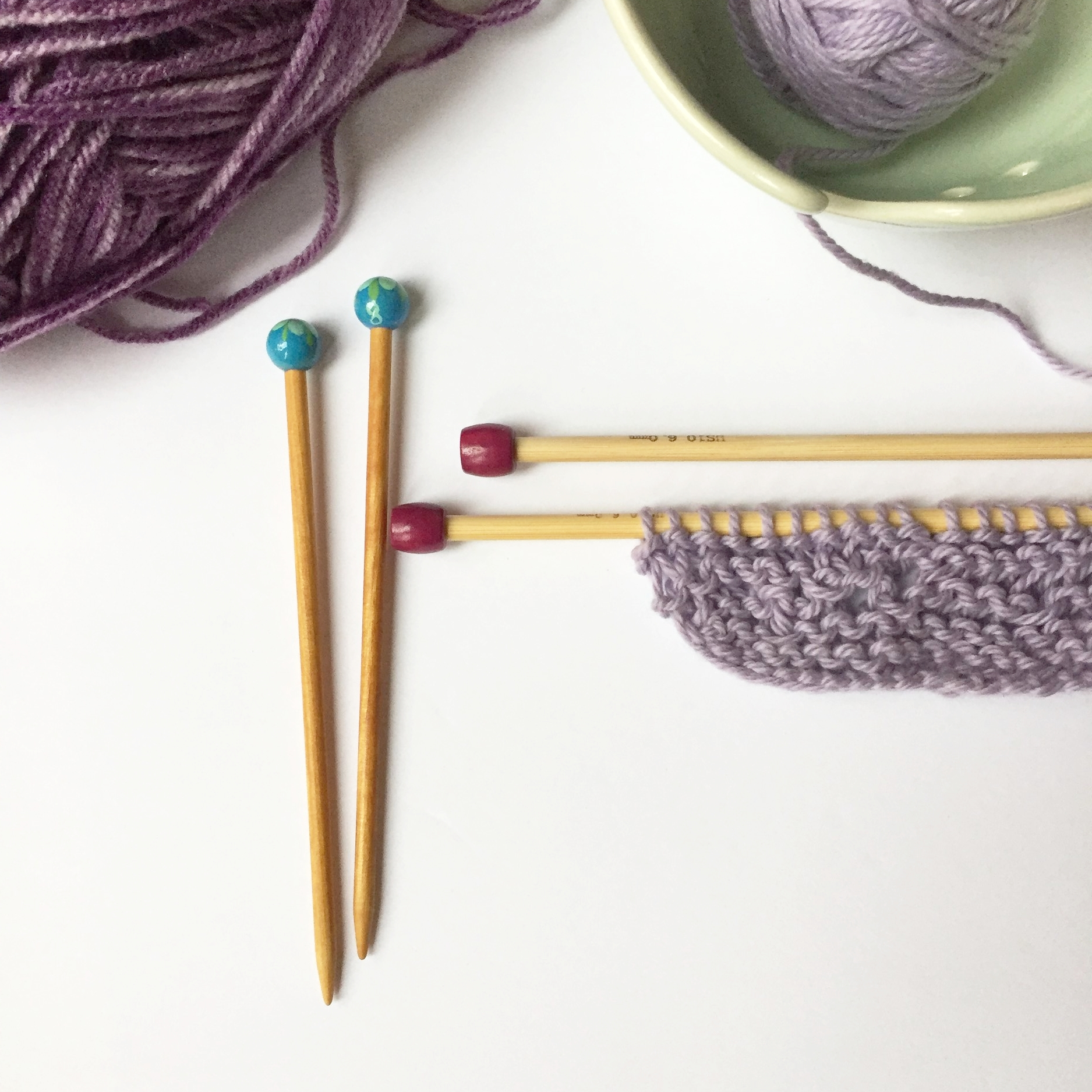 Tip: shorter wooden knitting needles are best for little hands and beginners.