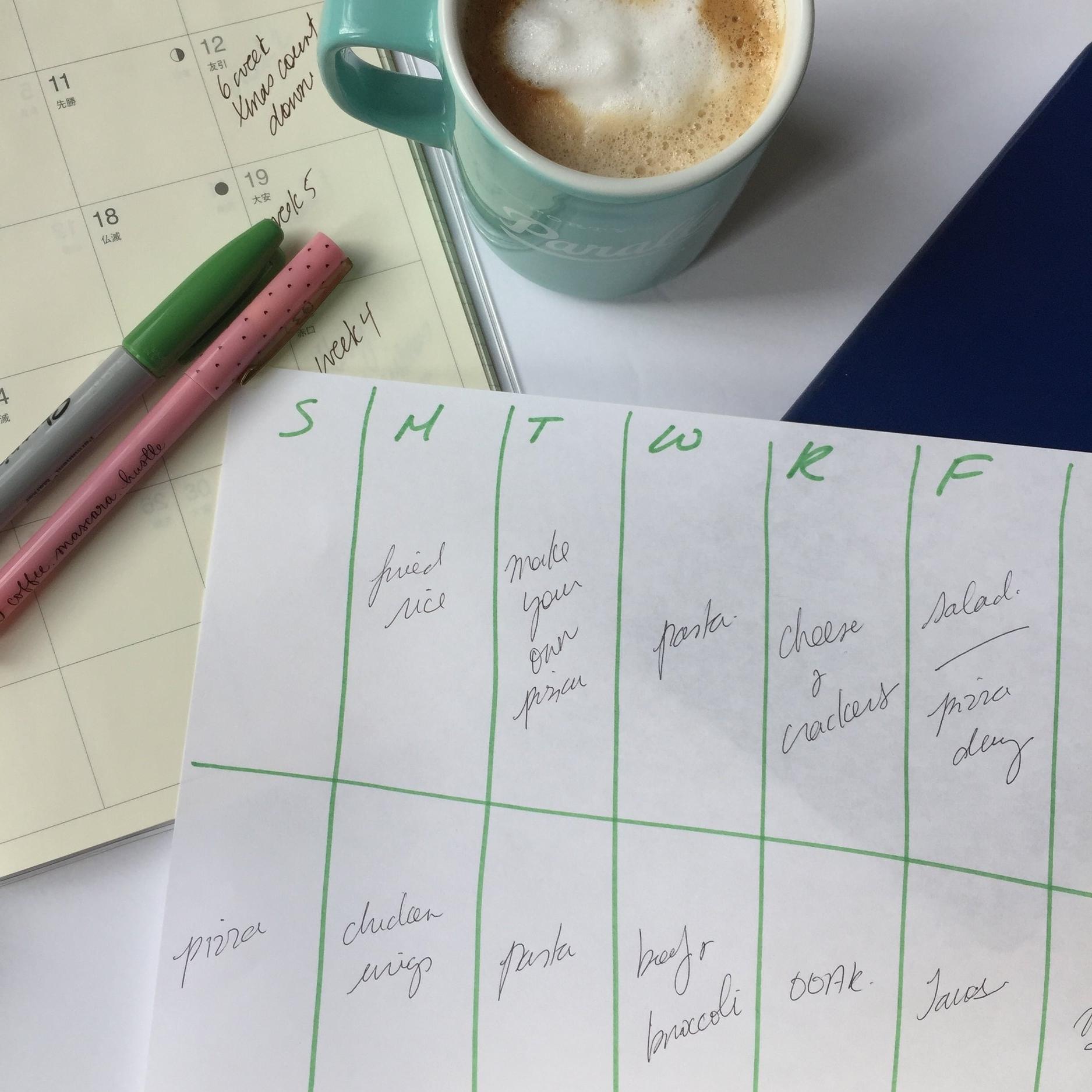 My simple hand sketched weekly meal plan.