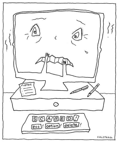 Computer face scared about blogging.