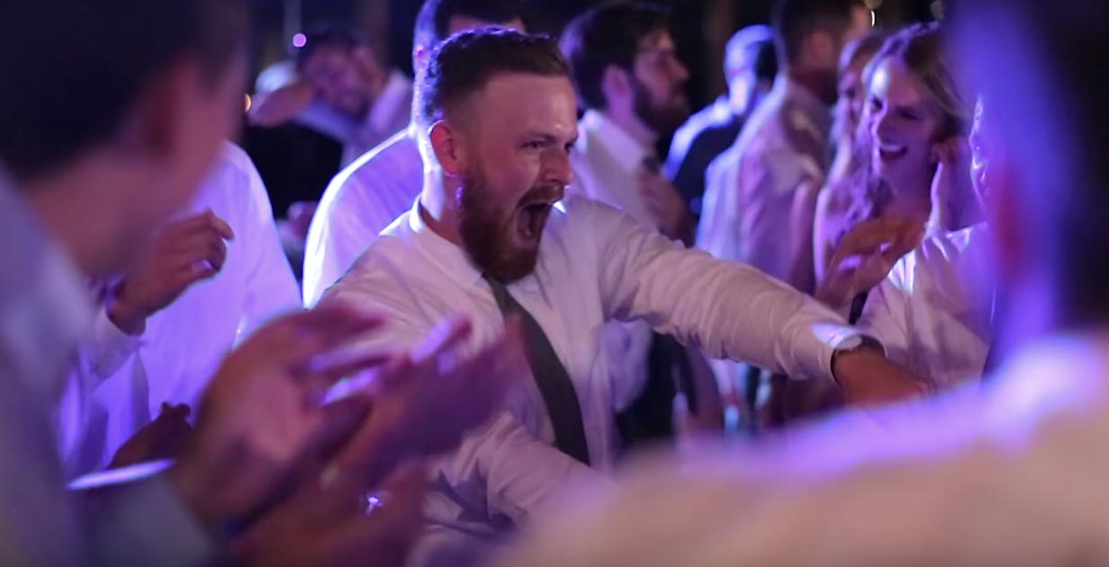 Jason dancing with his groomsmen