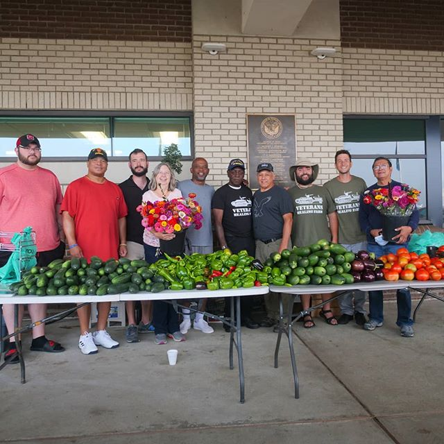 Volunteers from the VHF at a local produce donation, via VHF Instagram @veteranshealingfarm