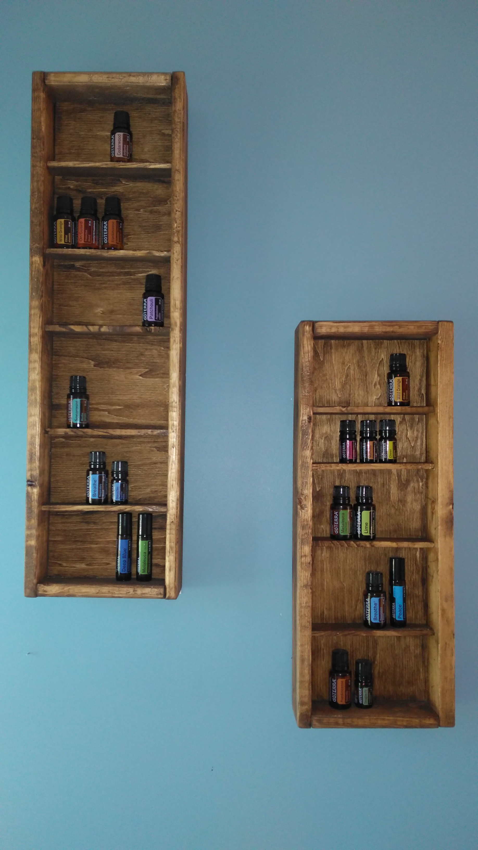 custom built shelves for oil display and storage.