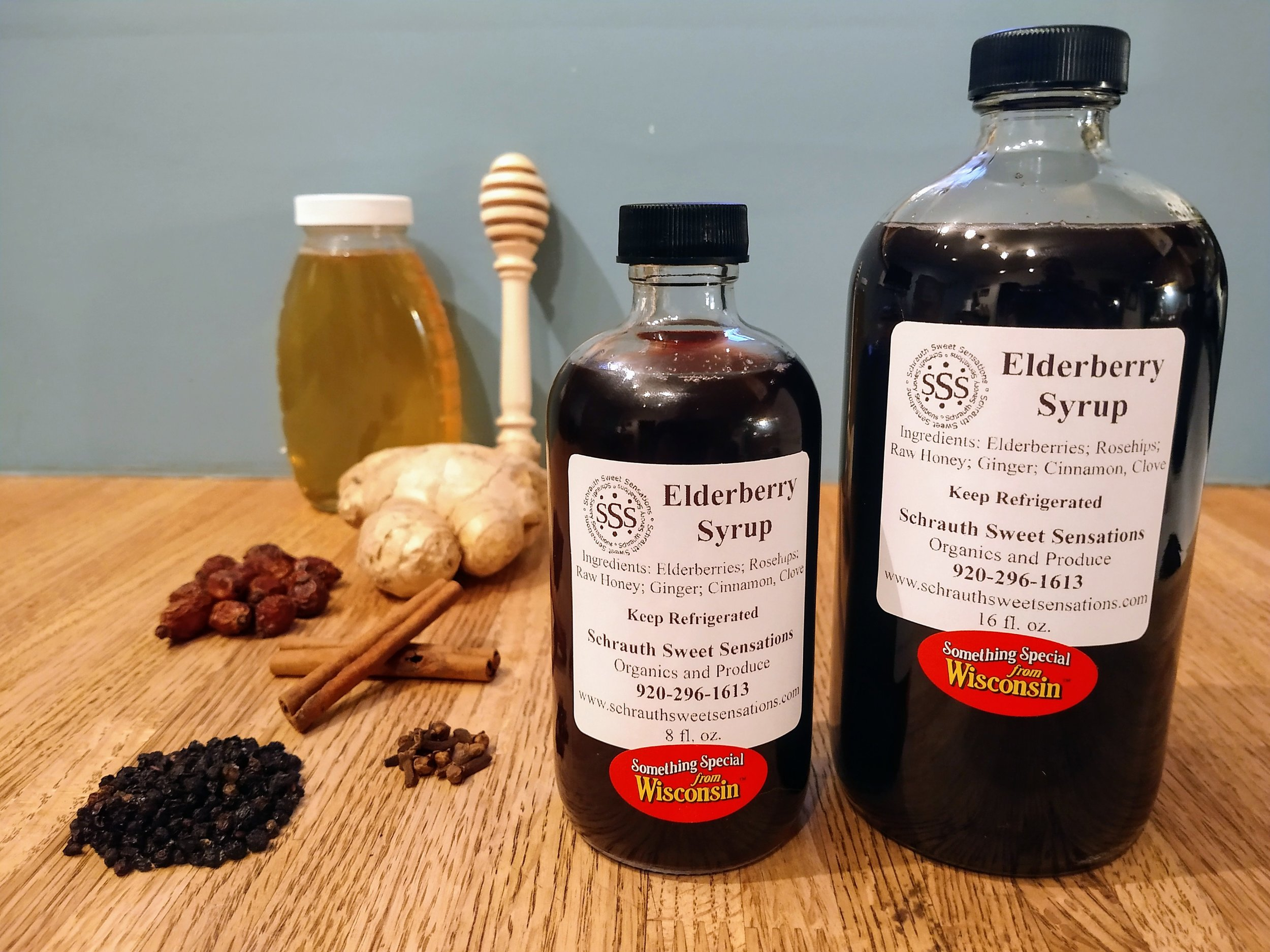 Elderberry Syrup - Our Elderberry Syrup is made with our raw, non pasteurized Honey along with Elderberries, Rosehips, Cinnamon, Clove, and Ginger!$12 - 8oz. Bottle$22- 16oz. Bottle