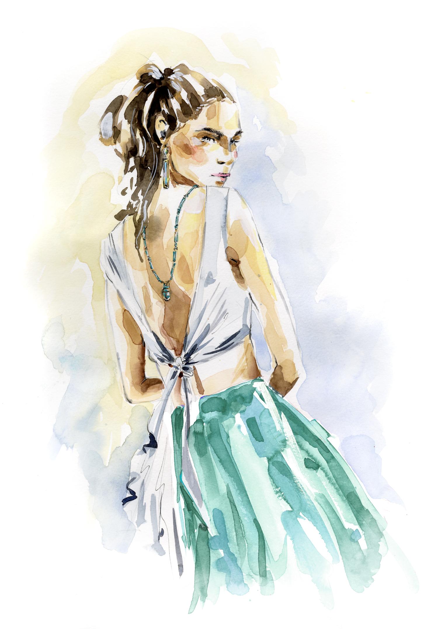 The work of artist Hillary Bott Sorrentino. Fashion. Illustration. Surface design.