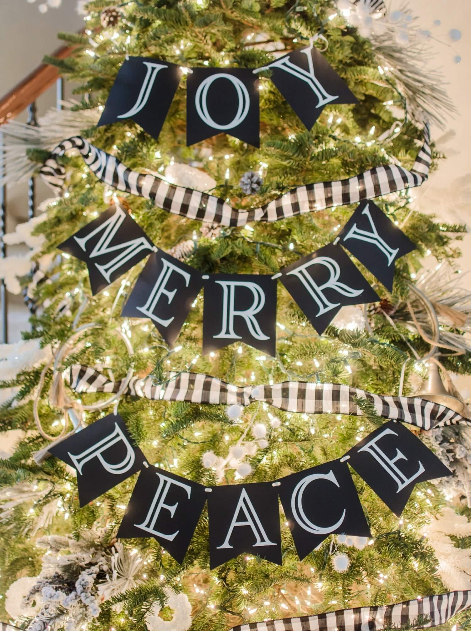Decorate your Christmas Tree with a beautiful banner, JOY, PEACE and MERRY