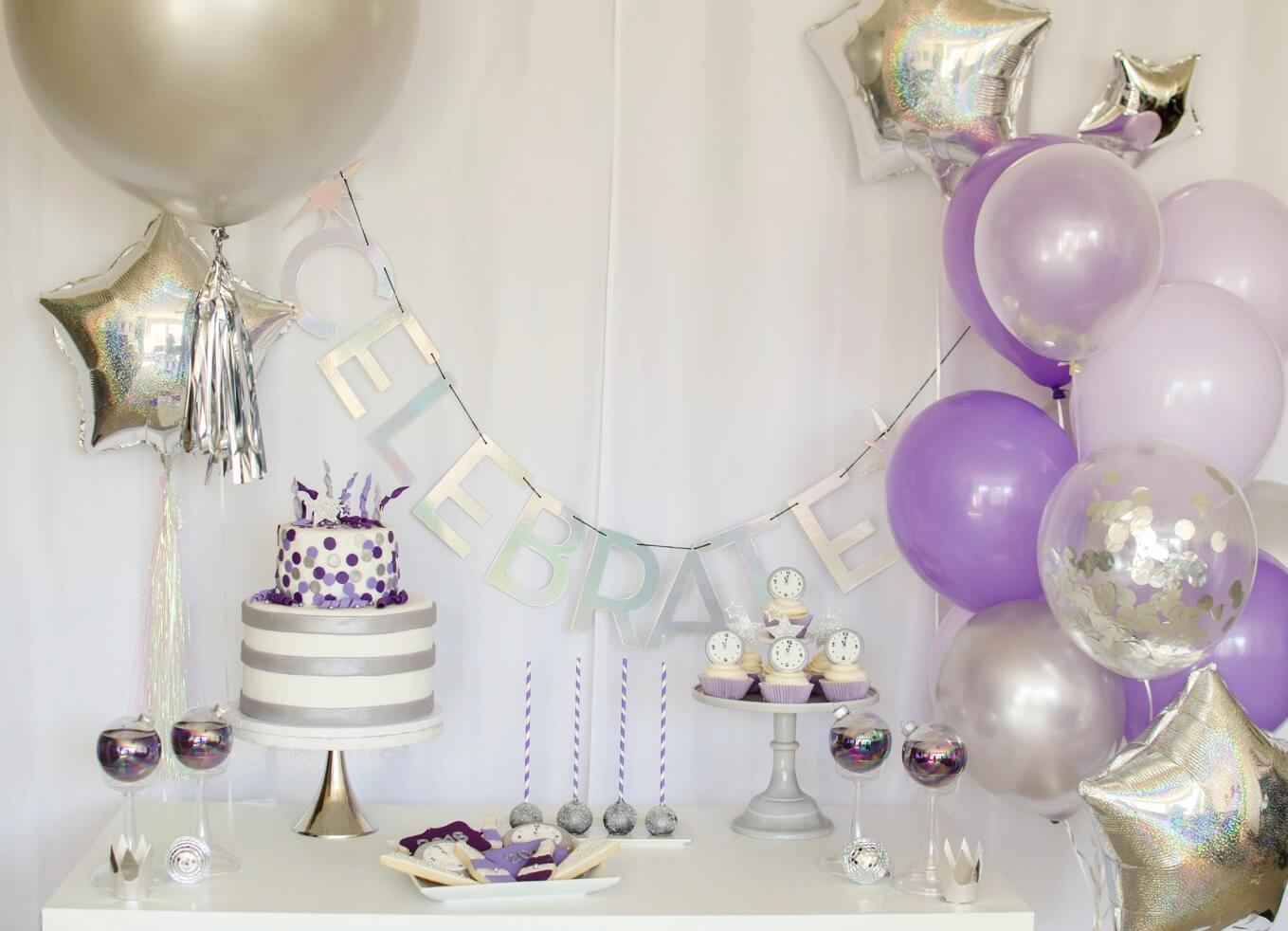Ultra Violet New Years party idea, desserts and decor inspiration / New Years Eve Party Dessert Tablescape / Created by Carolina from Mint Event Design www.minteventdesign.com