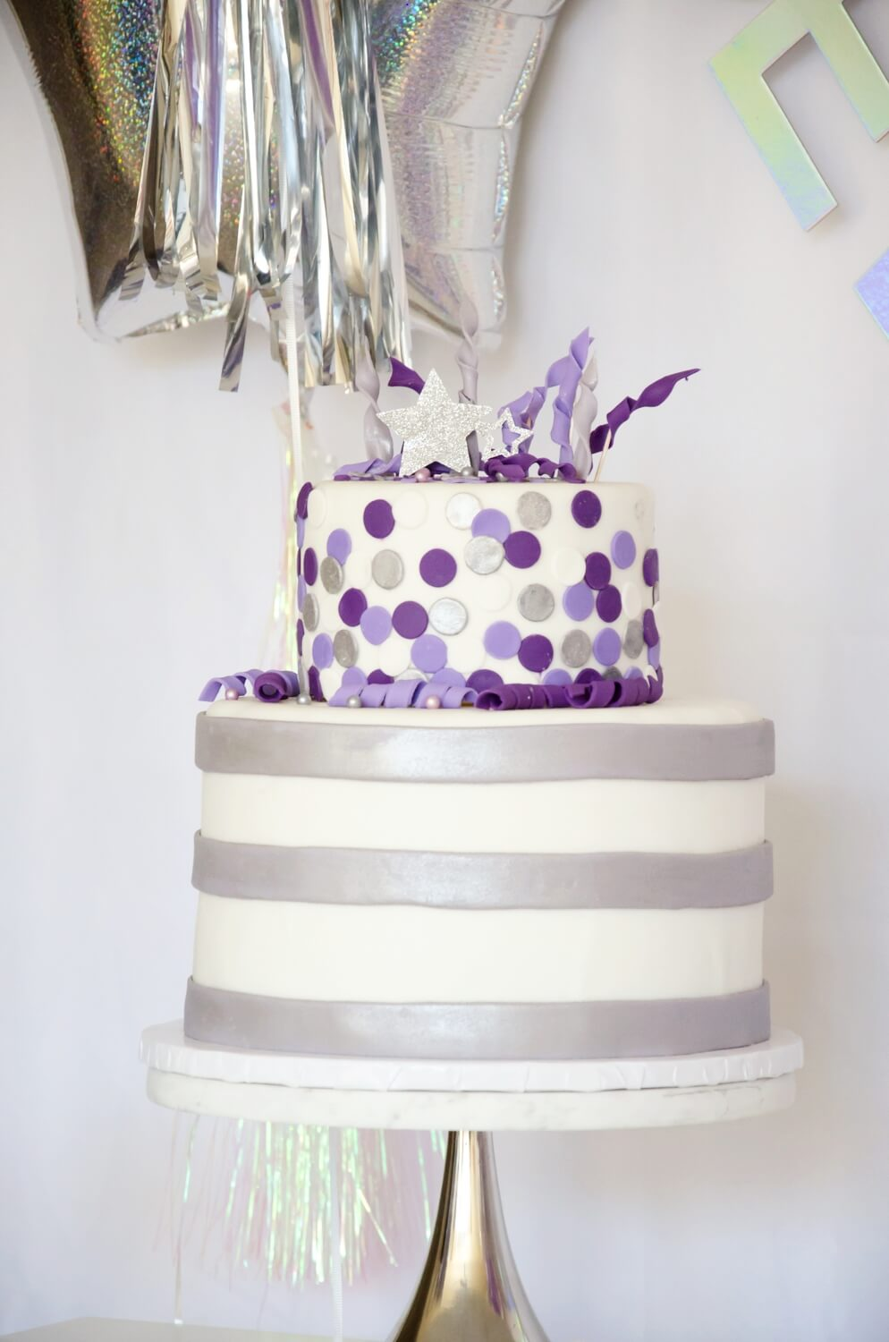 New Years Cake idea with purple and gray colors, perfect for a rockstar party too!