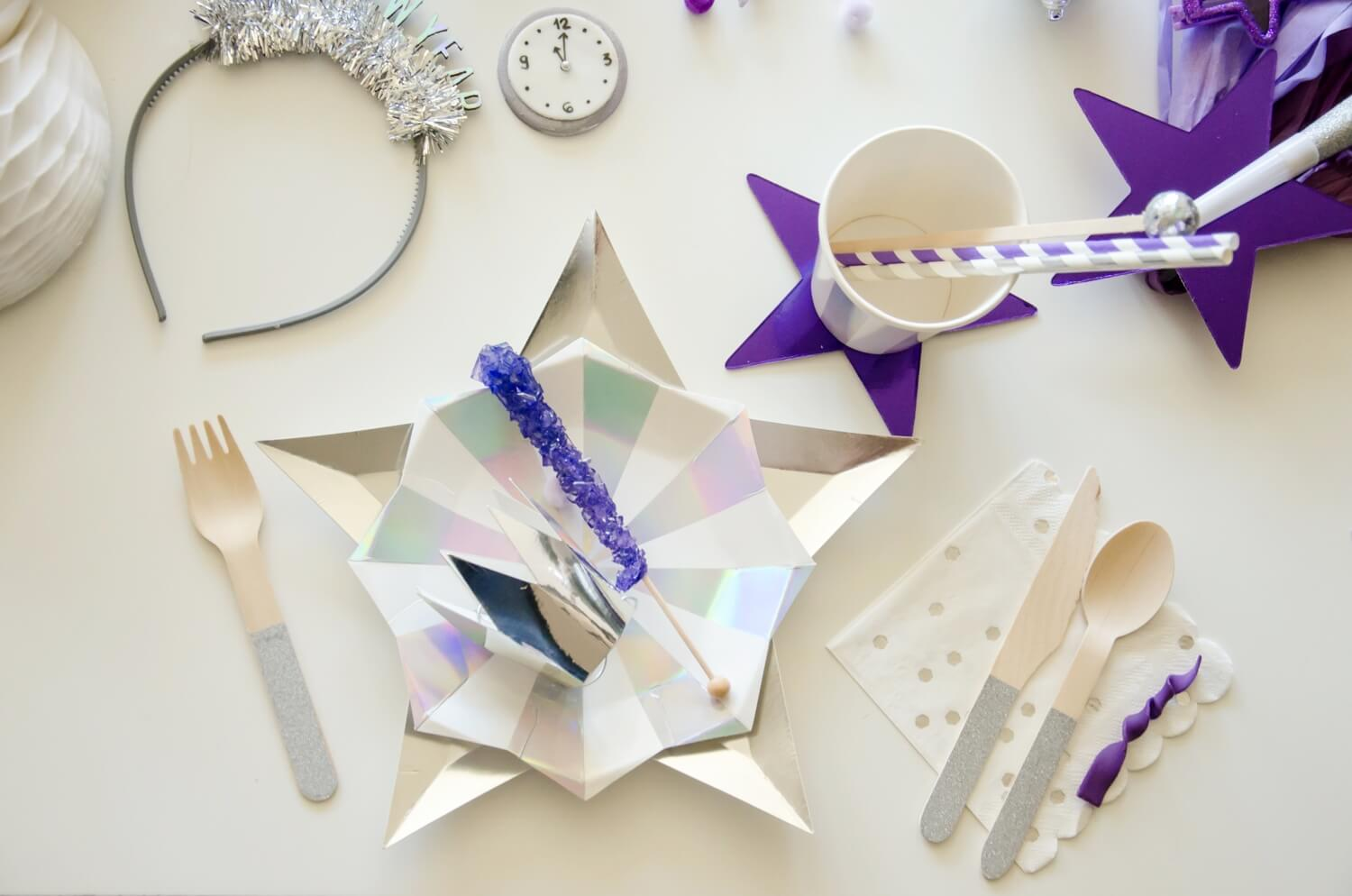 New Years Tabletop ideas with ultra violet and silver colors, whole New Years party is on the blog