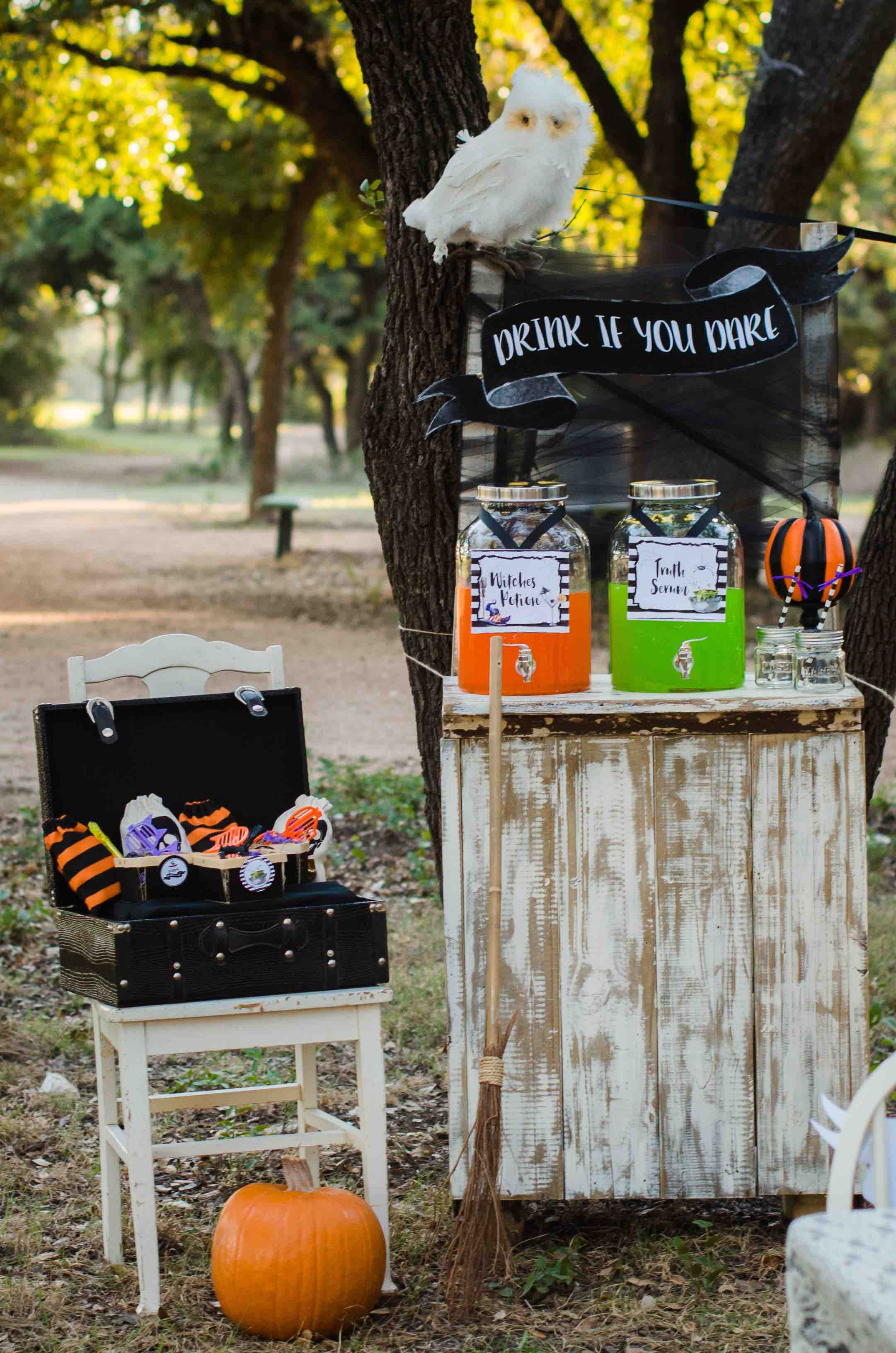 Be creative with your Halloween Party Drink Station and serve Witches Potion and Truth Serum. Click to see all the Halloween Party Ideas that you can re-create for your very own Halloween Kids Party. Styled by party stylist Mint Event Design. #halloween #partyideas #partyinspiration #partydecor #partyprintables #drinkstation #halloweenprintables #halloweendecorations