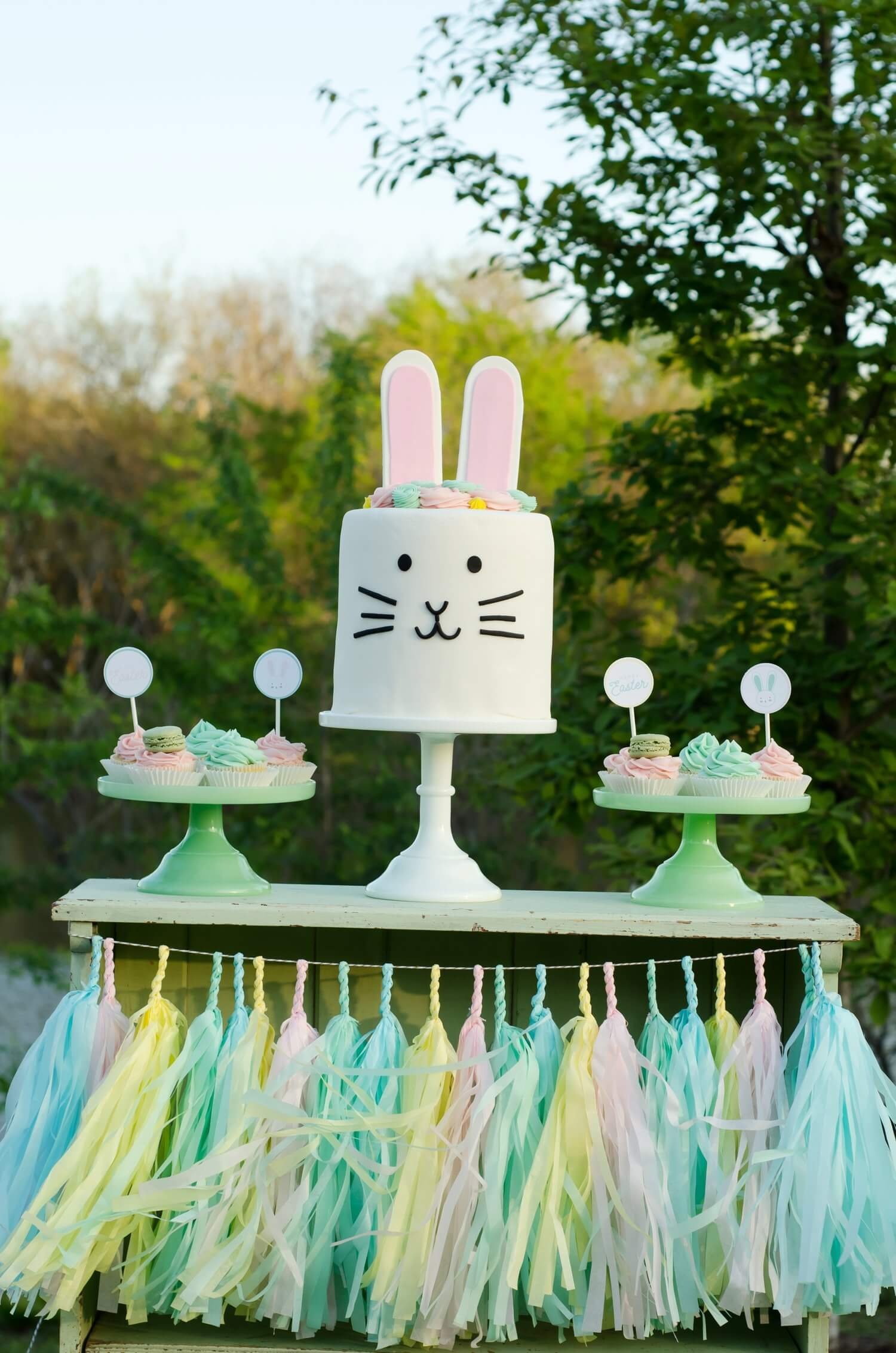 A perfectly matched tassel garland will elevate your party cake and cupcakes.. See more Easter Garden Party Ideas for Kids on Mint Event Design www.minteventdesign.com #easterparty #gardenparty #partysupplies #eastercake #partydecor