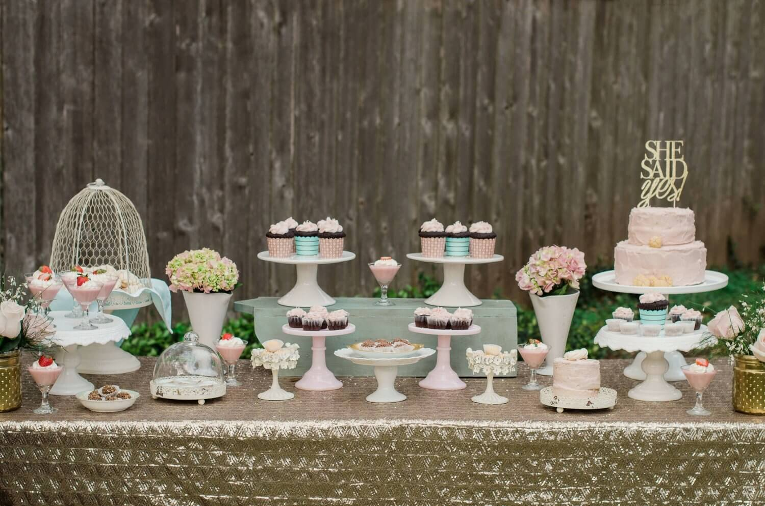 She Said Yes / Bridal Shower Dessert table ideas / Shabby Chic dessert table / Garden Shower bridal / Garden shower decor ideas / Bridal shower decor ideas / Baby shower decor ideas / Style by Carolina from MINT Event Design / www.minteventdesign.com