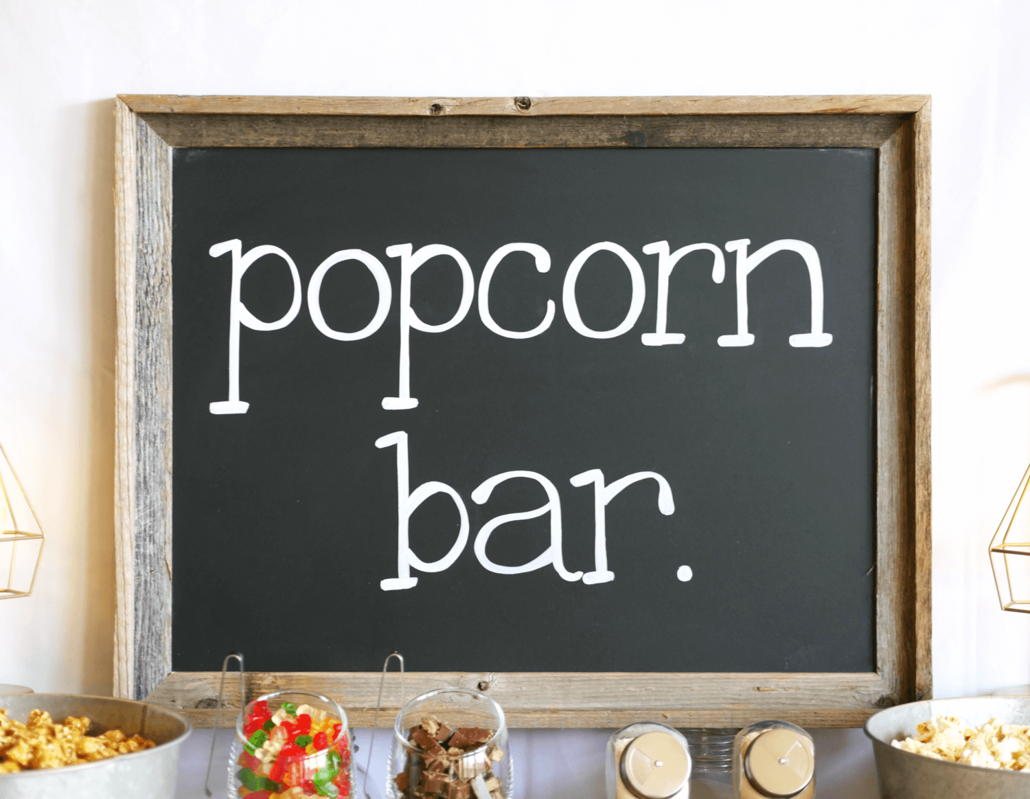 Popcorn bar idea / Popcorn Chalkboard sign / Teen Popcorn bar idea / Rustic Chalkboard sign / Rustic Popcorn bar / Styled by Carolina from MINT Event design / www.minteventdesign.com