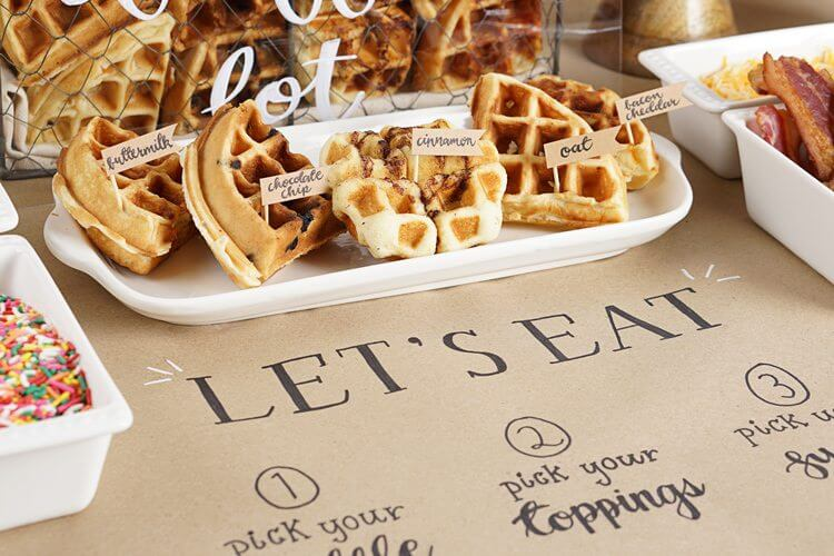 Which waffle flavor will you choose? Find the complete how to guide for setting up a waffle bar on Mint Event Design www.minteventdesign.com #wafflebar #brunch #breakfast #mothersday #brunchideas #partyideas