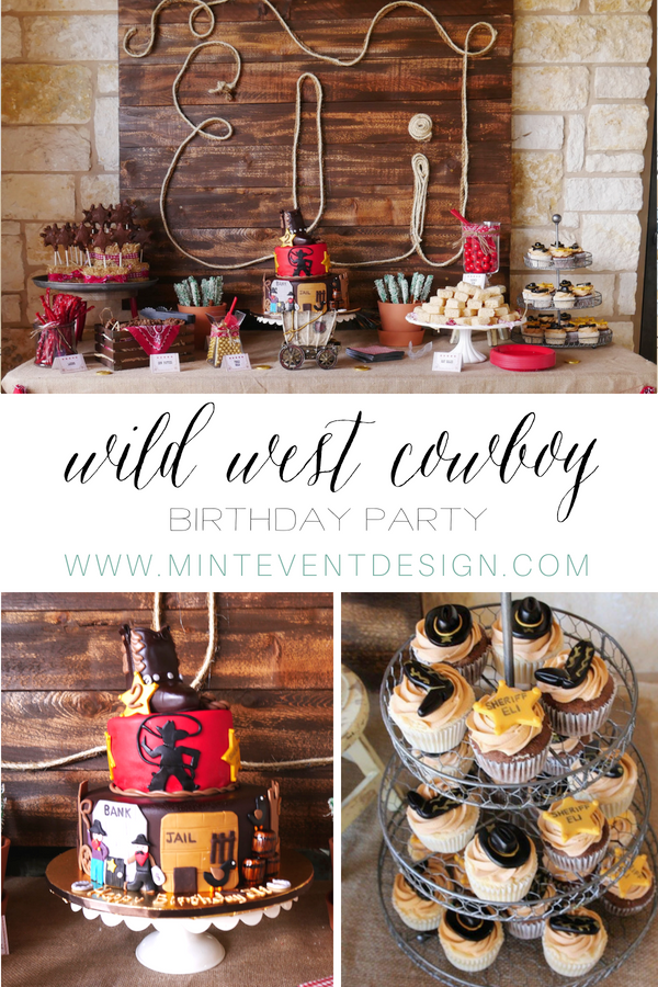 Click to see the best Wild West Birthday Party Ideas complete with a Wild West Printable Party Set. You will find Cowboy Party Ideas for the dessert table and cowboy party decorations. There's even a personalized rope sign / Styled by Carolina from MINT Event Design / www.minteventdesign.com #wildwest #cowboy #birthdayparty #partyideas #desserttable #boybirthday