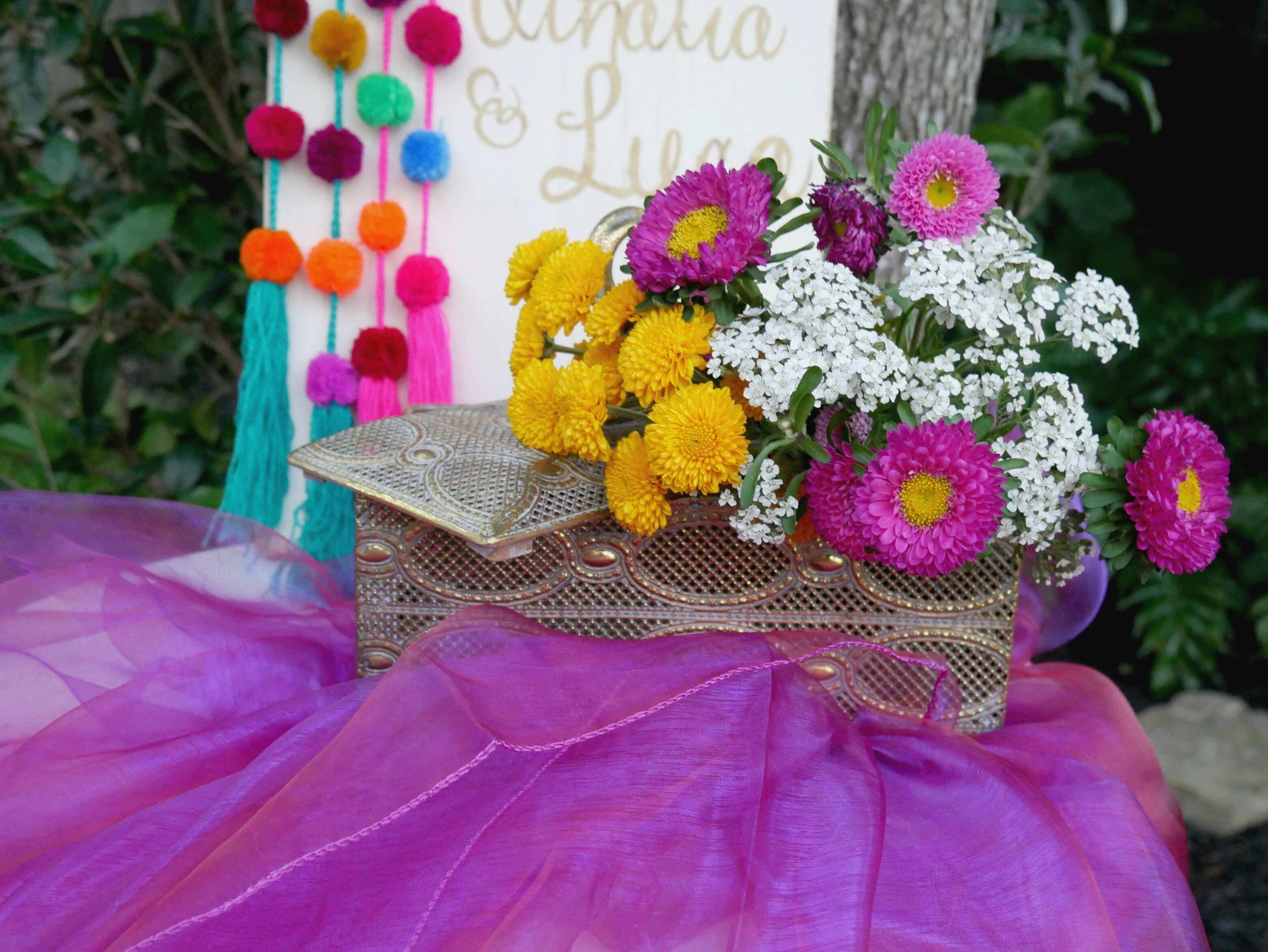 Lush tones of yellow and purples for this Gypsy themed engagement party. Styled by Mint Event Design in Austin Texas www.minteventdesign.com #engagementideas #bohochic