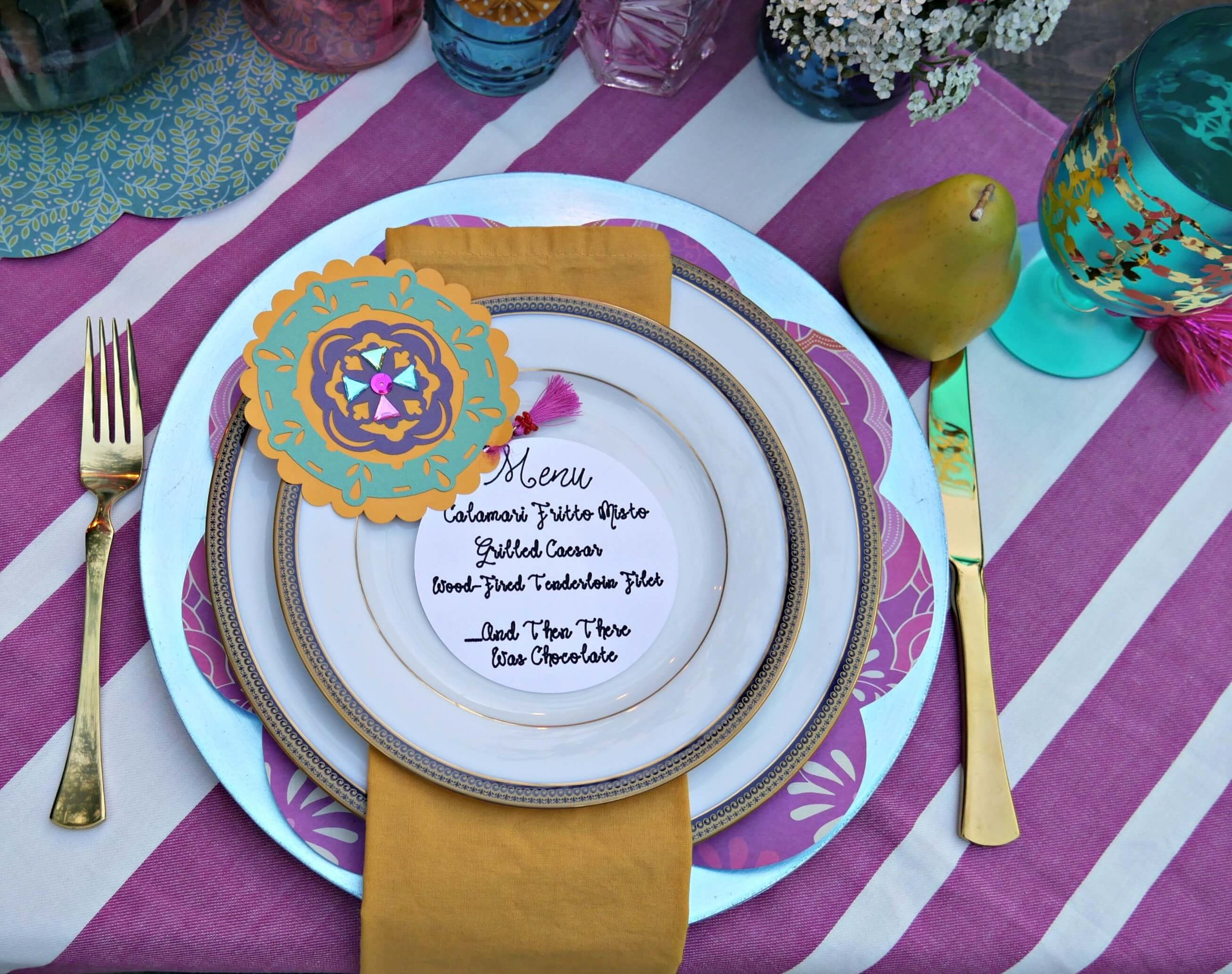 DIY party menu with bling - created with a Cricut for this boho chic engagement party. Styled by Mint Event Design www.minteventdesign.com #tablesetting #tablescapes #bohochic #cricutdiy
