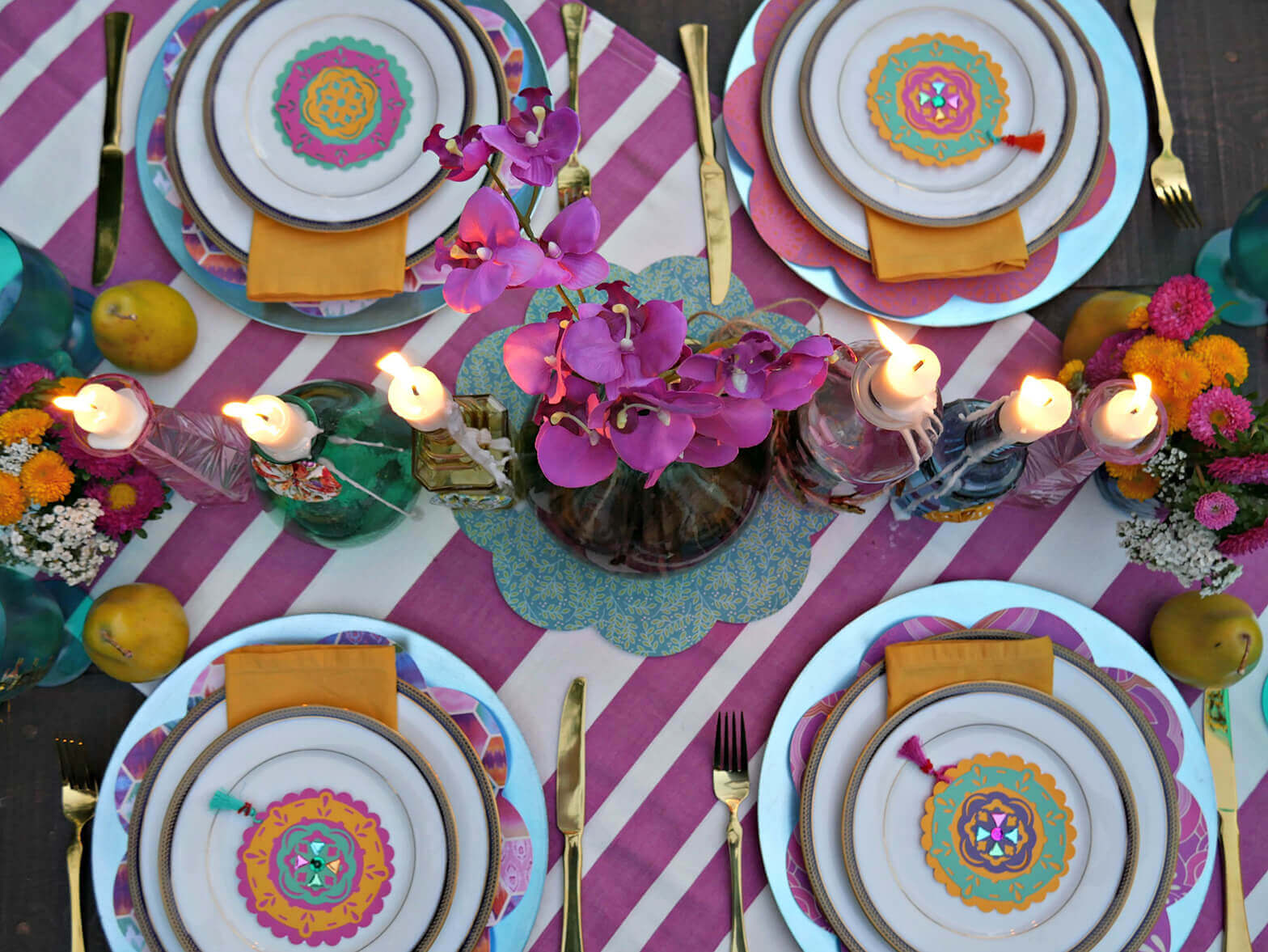 So many great Gypsy inspired engagement party ideas from Mint Event Design including this gorgeous jewel toned tablescape www.minteventdesign.com #tablesetting #tablescapes #bohochic