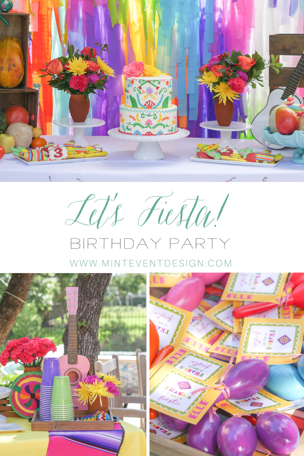 Find out How to Plan the most colorful Coco Inspired Fiesta Birthday Party. This Mexican party was inspired by the movie Coco and included a Coco themed cake, cookies, mini guitars and maracas as party favors. Styling by Austin Texas party planner Mint Event Design www.minteventdesign.com #kidsbirthdayparty #fiestaparty #disneycoco #partyideas #girlbirthdayparty #cocobirthdayparty