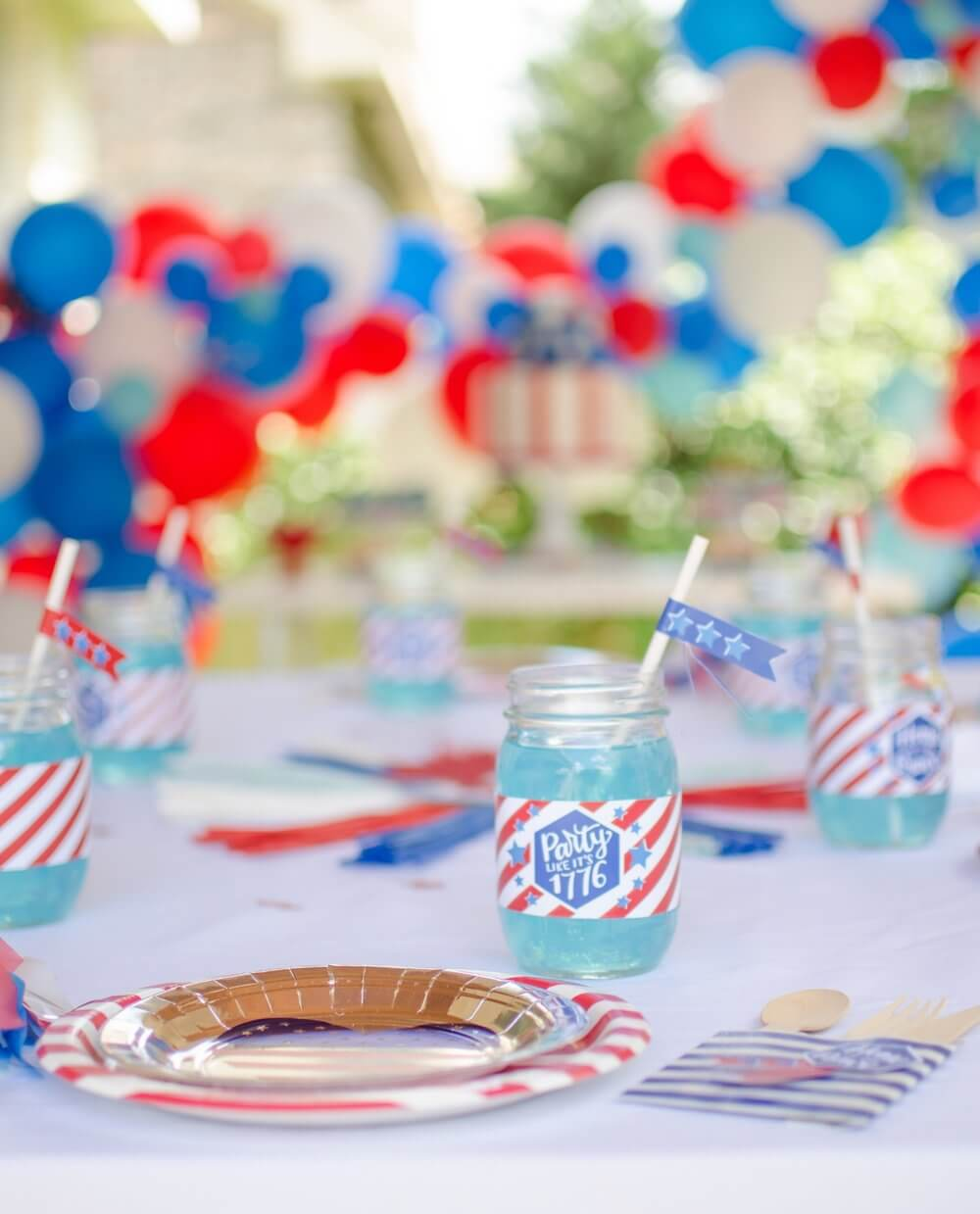 4th of July, Independence Day, Patriotic party inspiration table.