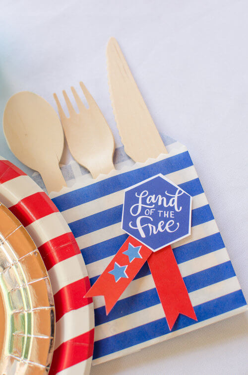 Land of the Free label for Utensil holder craft.