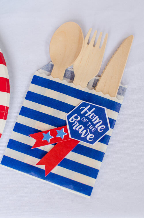 Home of the brave label for Utensil holder craft.