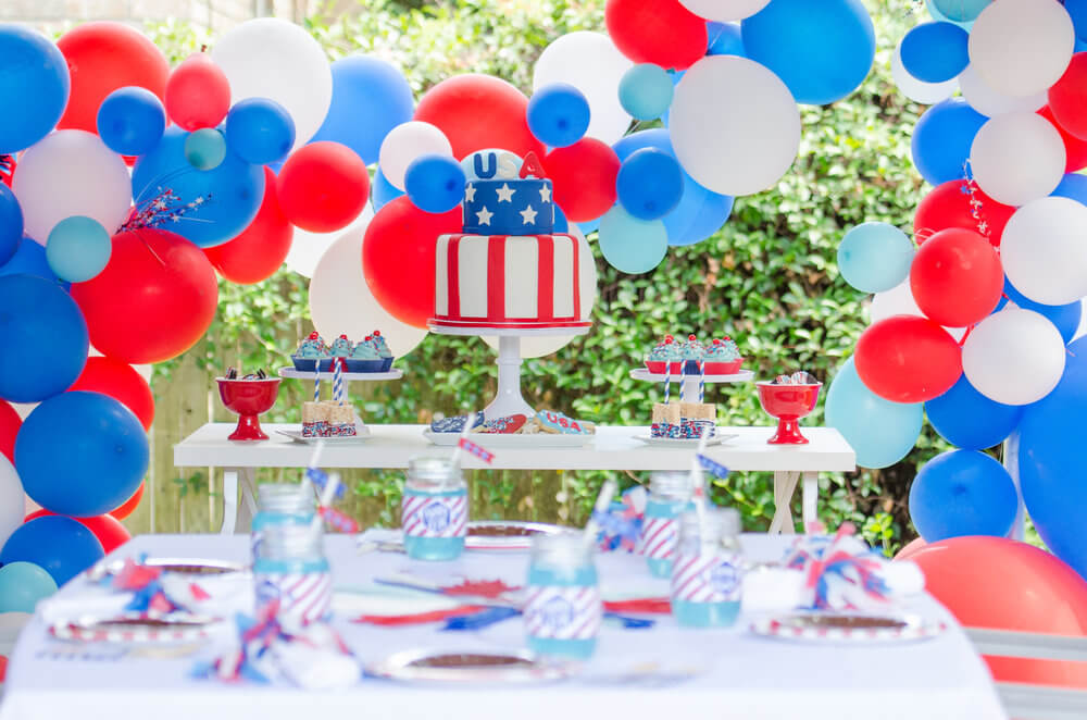 Red, white, and blue, 4th of July, inspiration for party. Balloons, desserts, and decor.