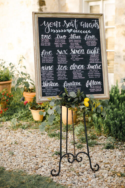Chalkboard seating chart, lemons, greenery.