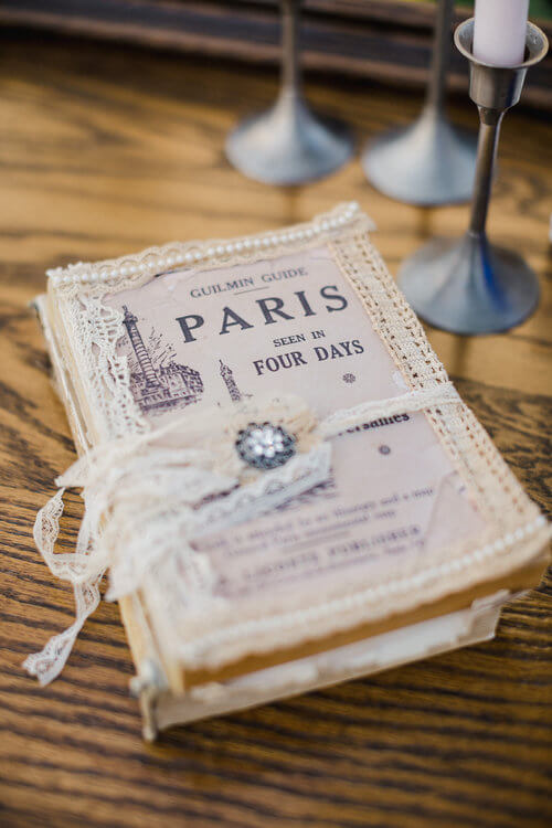 French country wedding inspiration Paris book, lace.