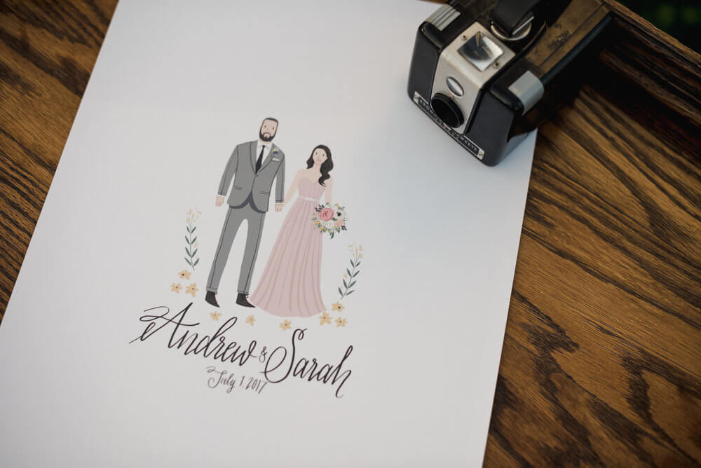 French country wedding inspiration guestbook, illustration.