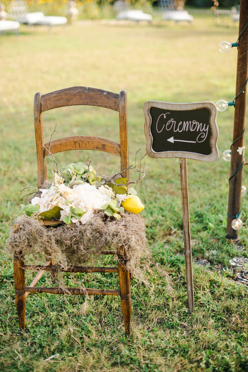 French country wedding inspiration ceremony sign, chalkboard, vintage chair, lemons, style.