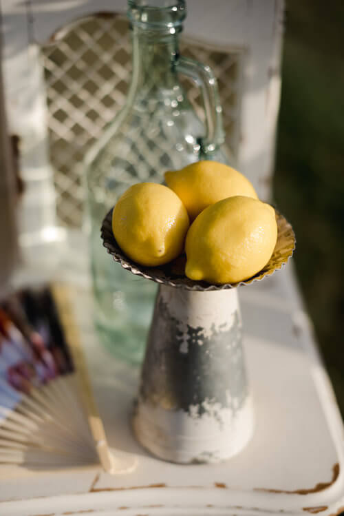 Fresh lemons with French antique decor.