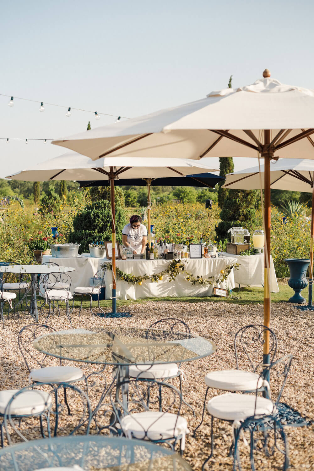French country wedding inspiration around bar and drink tables.