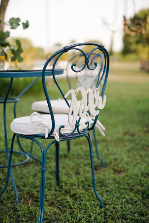 French country wedding inspiration with Mr chair sign.