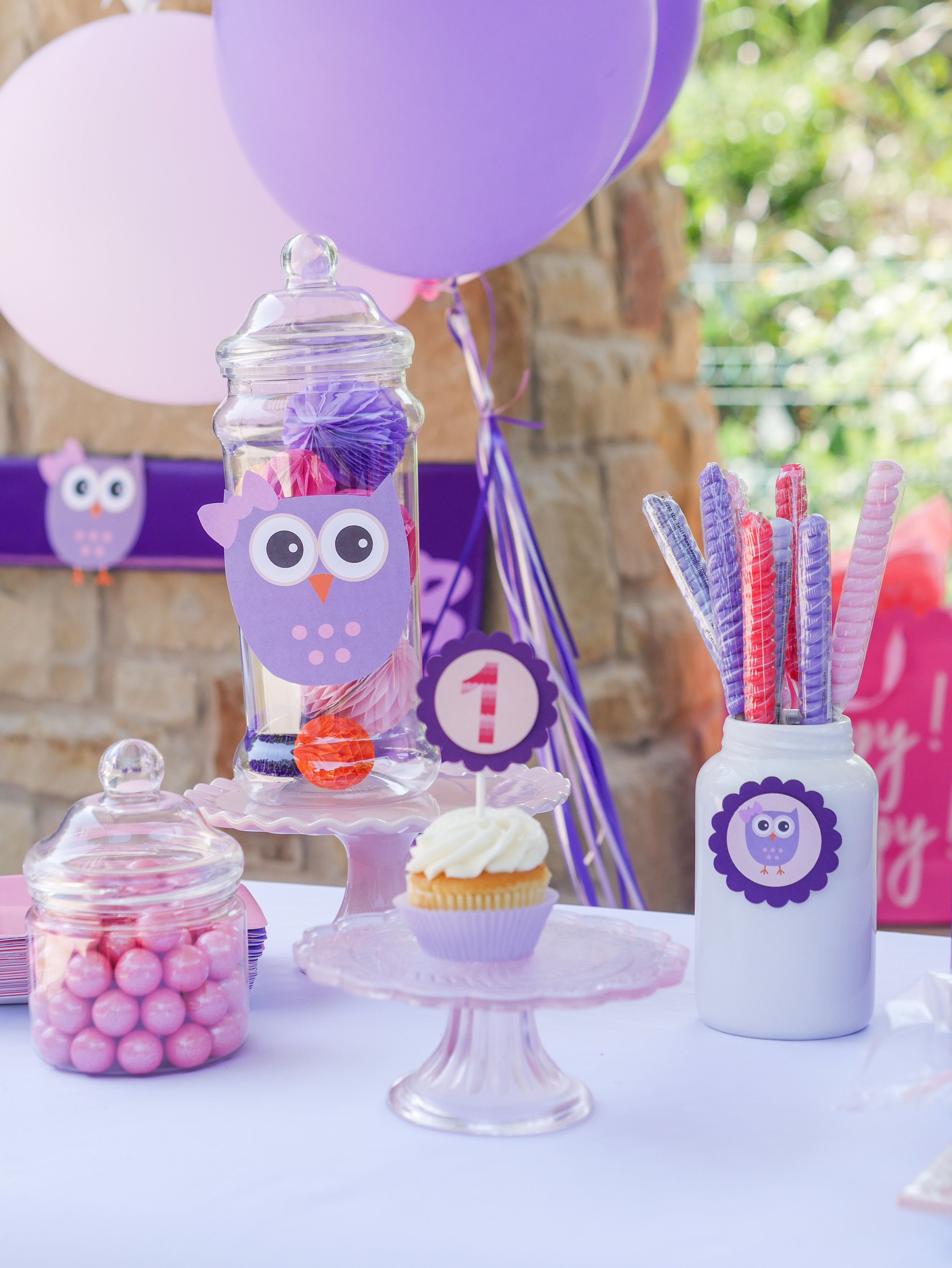Fun dessert table details at this owl themed first birthday party in Austin, Texas. Click to see over 10 creative party ideas in the Owl First Birthday Party by party stylist Mint Event Design in Austin, TX #birthdayparty #partyideas #partyinspiration #owl #firstbirthday #partytreats #partygoods #partyfavors