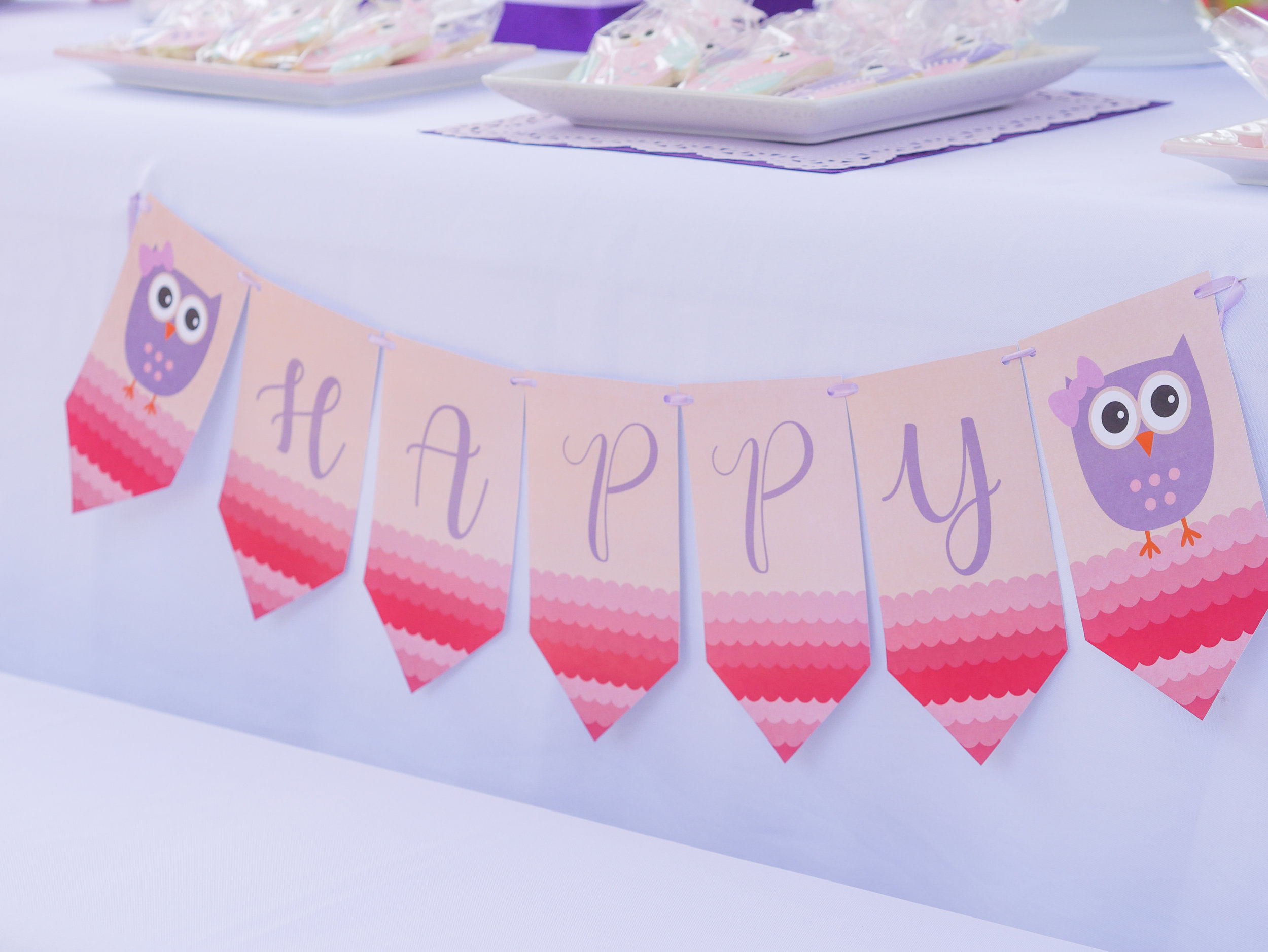 This pink & purple ombre banner really stands out against the white tablecloth. Full details on this birthday party banner can be found on www.minteventdesign.com - it's just one of the many creative party ideas in the Owl First Birthday Party by party stylist Mint Event Design in Austin, Texas. #birthdayparty #partyideas #partyinspiration #owl #firstbirthday #partybanner #birthdaybanner