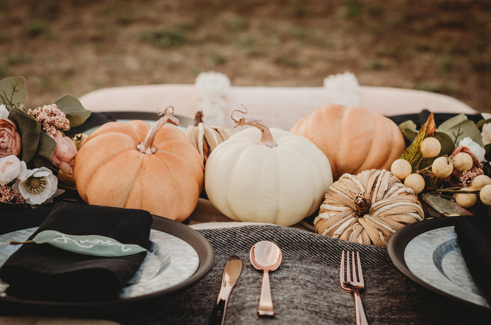 Create a low centerpiece for fall weddings and/or bridal showers with pumpkins and florals. Click to see all the details of this fall bridal shower by party stylist Mint Event Design. #bridalshowers #bridalshowerideas #rusticwedding #rusticbridalshower #bridalshowerdecor #farmwedding #tablesetting #centerpiece #pumpkins #pumpkindecor