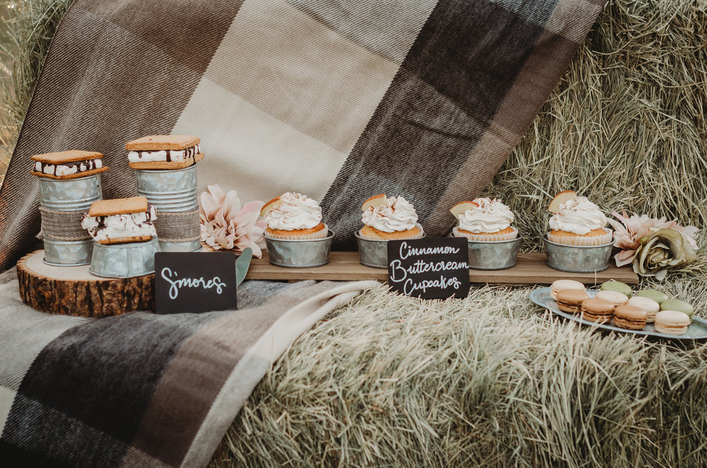 More sweet desserts for a rustic bridal shower included s'mores and cinnamon buttercream cupcakes. Click to see many more bridal shower ideas from this Fall in Love party theme. Created by party stylist Mint Event Design. #bridalshowers #bridalshowerideas #rusticwedding #rusticbridalshower #bridalshowerdecor #farmwedding #partyideas #fallbridalshower #smores #bridaslshowerdessert #minidesserts