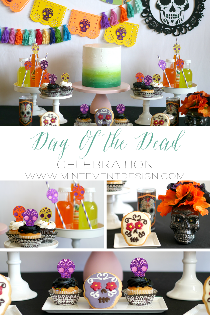 Find all of the best Day of the Dead Party Decorations for your dessert table on the Mint Event Design party blog from Austin, Texas based party stylist www.minteventdesign.com. There's lots of sugar skull decorations and papel picado banners to create a colorful Dia de Los Muertos Celebration #dayofthedead #diadelosmuertos #sugarskulls #mexicanparty #halloweenparty #partyideas #desserttable