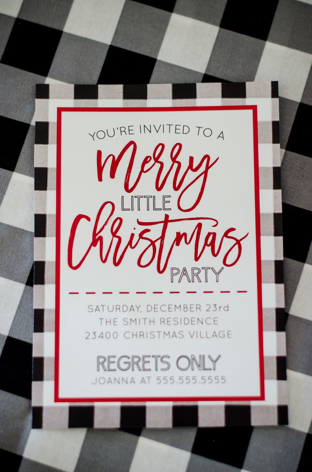 You're invited to a merry little Christmas party. The buffalo check print on this Christmas party invitation gives it the perfect farmhouse/fixer upper look. See more holiday party inspiration from Austin based party stylist Mint Event Design at www.minteventdesign.com #partyinvitation #holidayparty #holidays #partyideas #christmasparty #holidaypartyideas