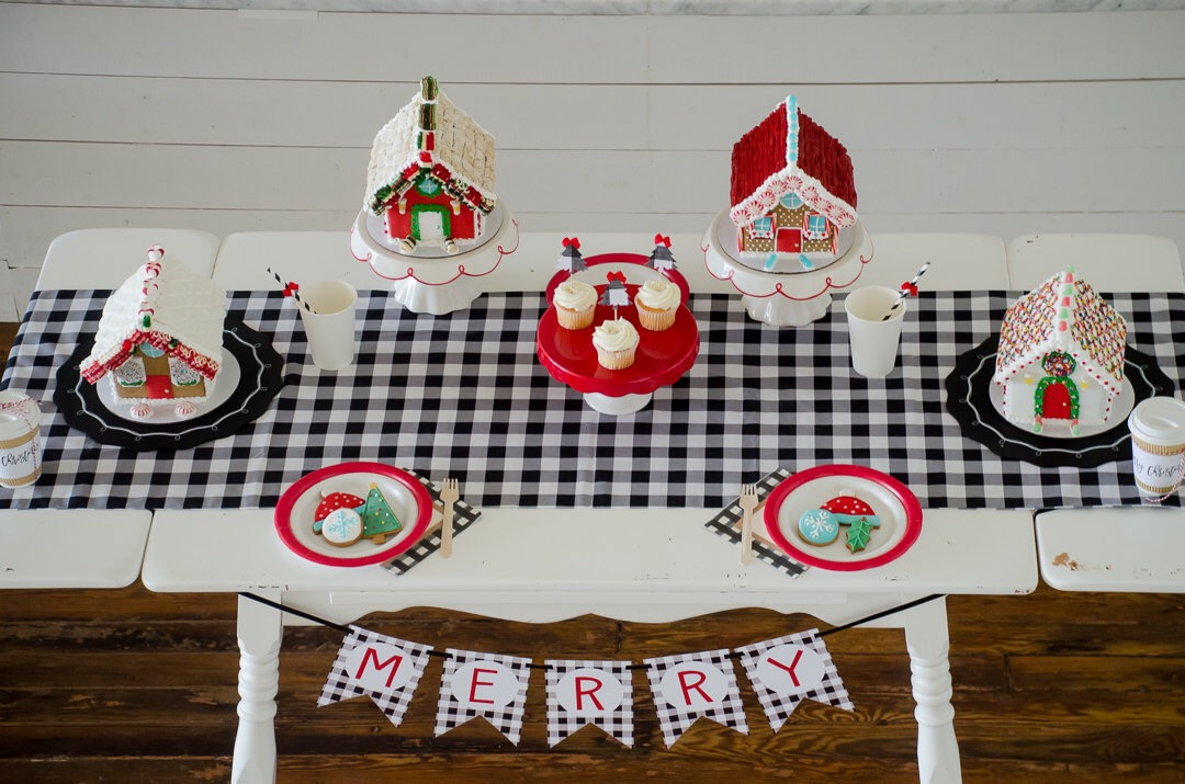 The buffalo check pattern gives this Christmas party a perfect farm house look and it became the unifying pattern throughout the entire party to bring everything together. See more holiday party inspiration from Austin based party stylist Mint Event Design at www.minteventdesign.com #tablescape #buffaloplaid #christmasdesserts #holidayparty #holidays #partyideas #christmasparty #holidaypartyideas