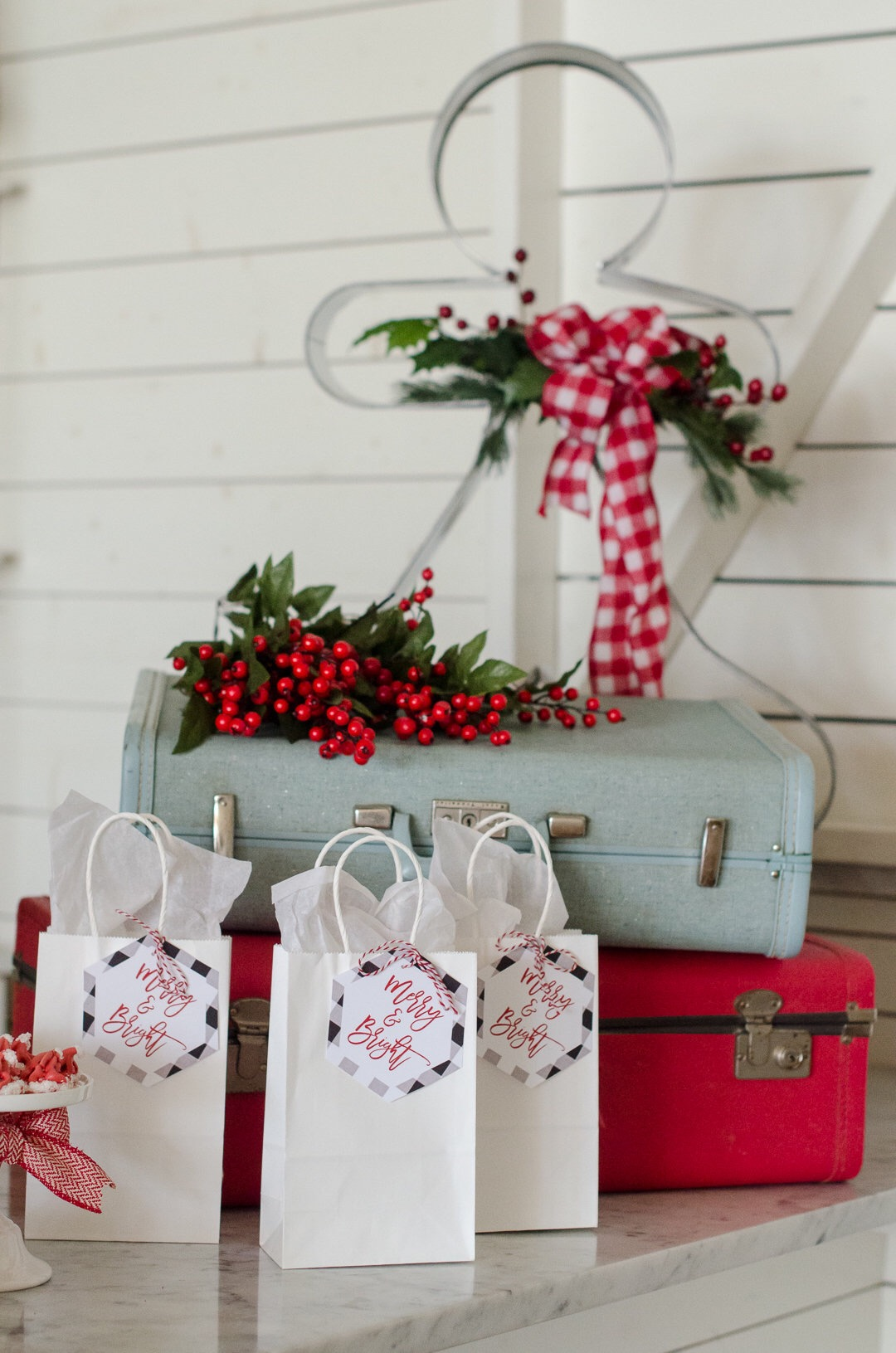 Love these buffalo print gift tags. See more holiday party inspiration from Austin based party stylist Mint Event Design at www.minteventdesign.com #holidayparty #holidays #partyideas #christmasparty #holidaypartyideas #buffaloplaid