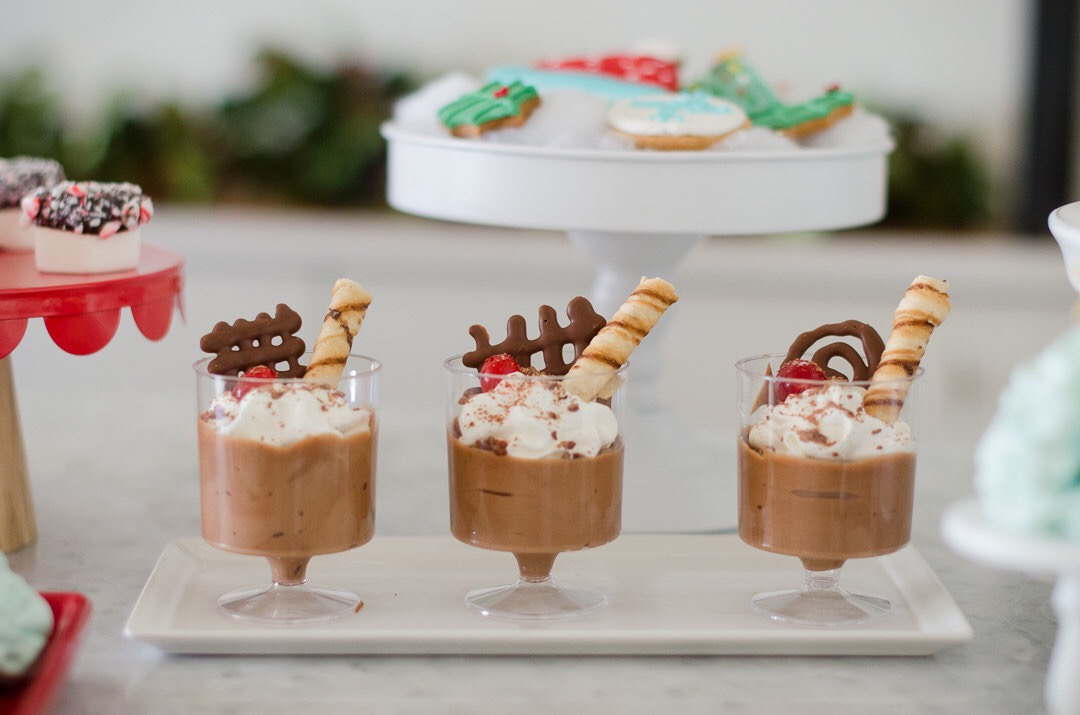 Your Christmas party guests won't be able to resist this Chocolate Mousse. See more holiday party inspiration from Austin based party stylist Mint Event Design at www.minteventdesign.com #desserttable #christmasdesserts #holidayparty #holidays #partyideas #christmasparty #holidaypartyideas #chocolatemousse